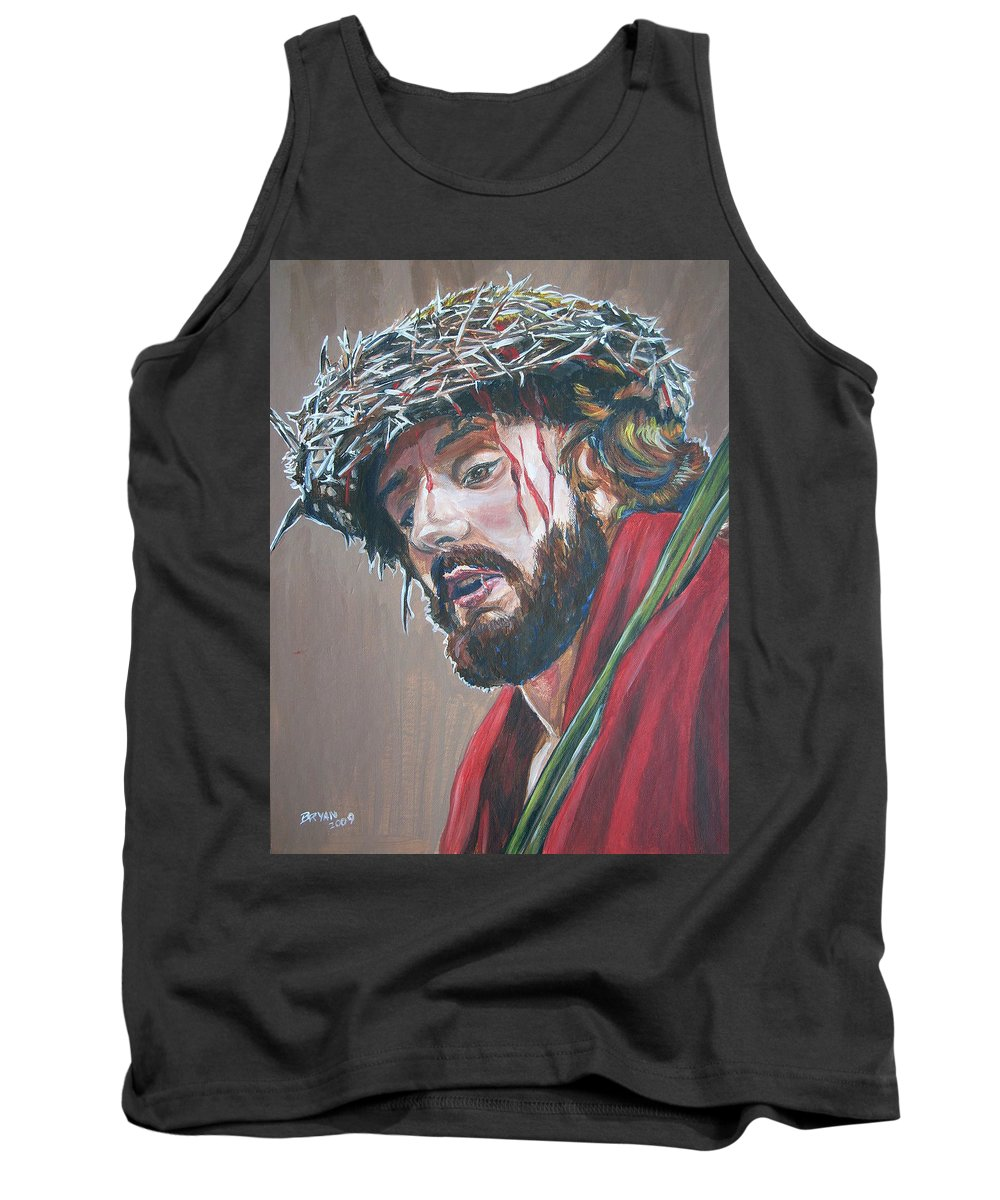 Jesus Christ Tank Top featuring the painting Crown Of Thorns by Bryan Bustard