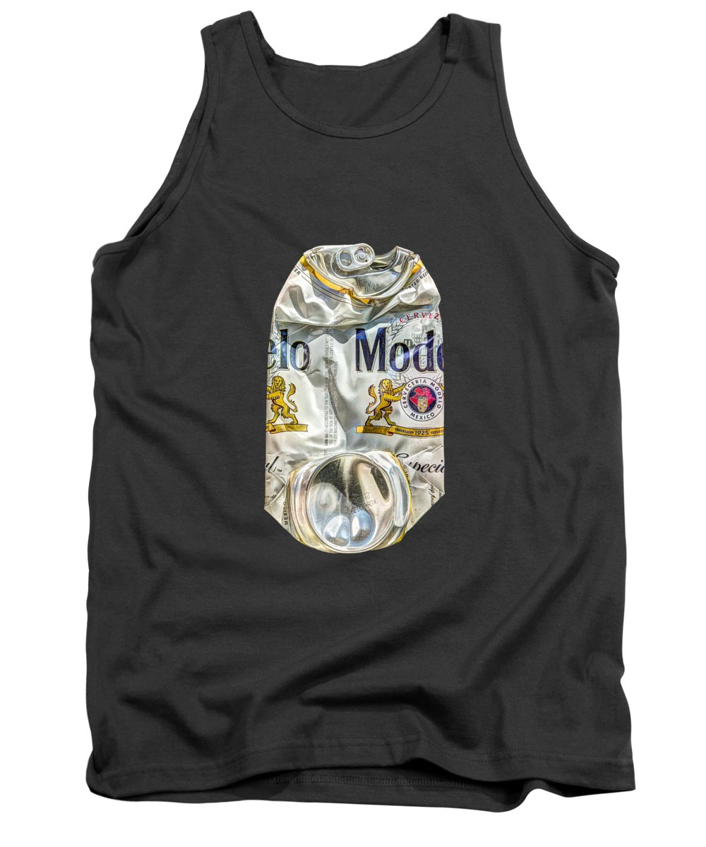 Beer Can Tank Top featuring the photograph Crushed Beer Can Especial on BW Plywood 82 by YoPedro