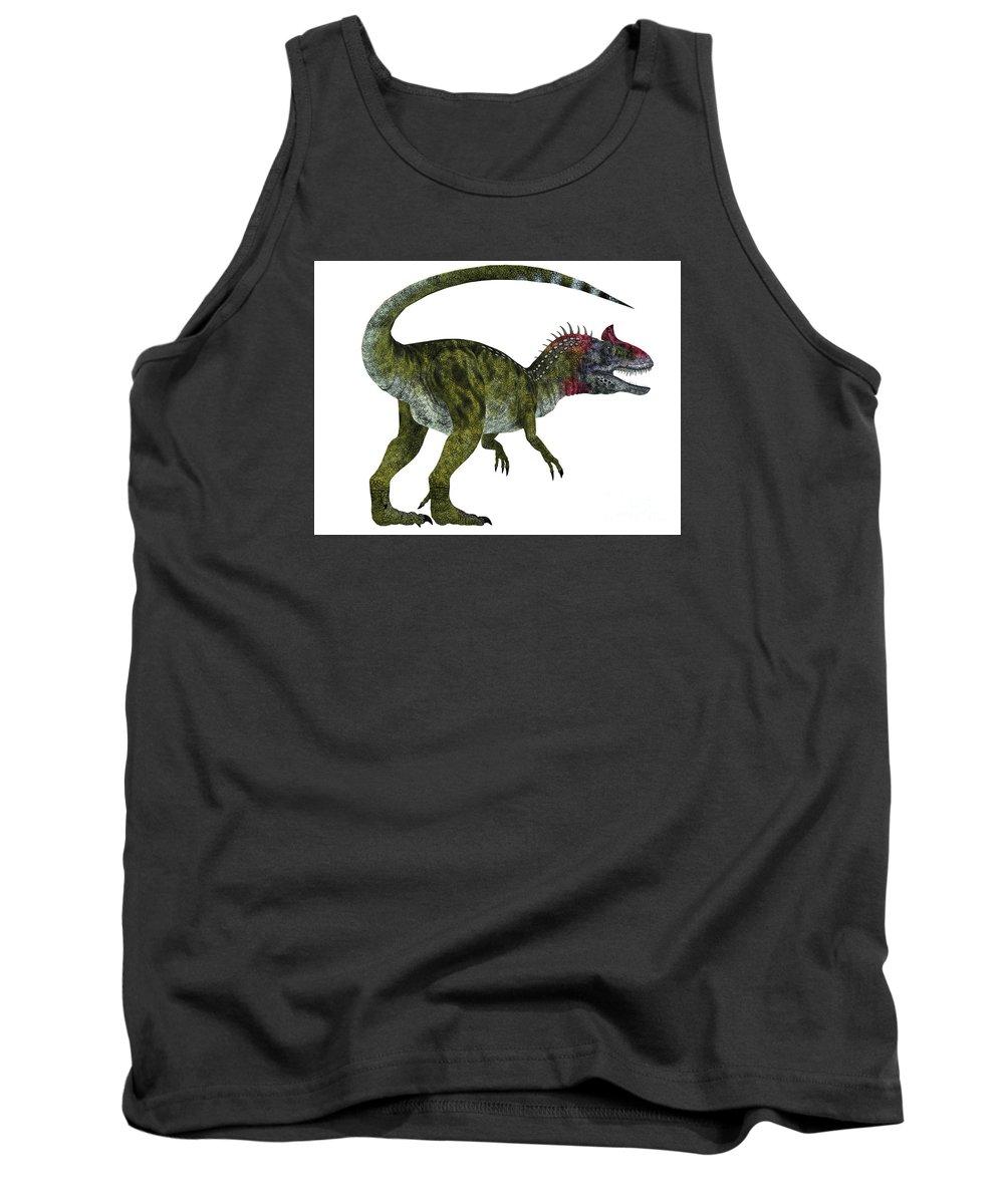 Cryolophosaurus Tank Top featuring the painting Cryolophosaurus Dinosaur Tail by Corey Ford
