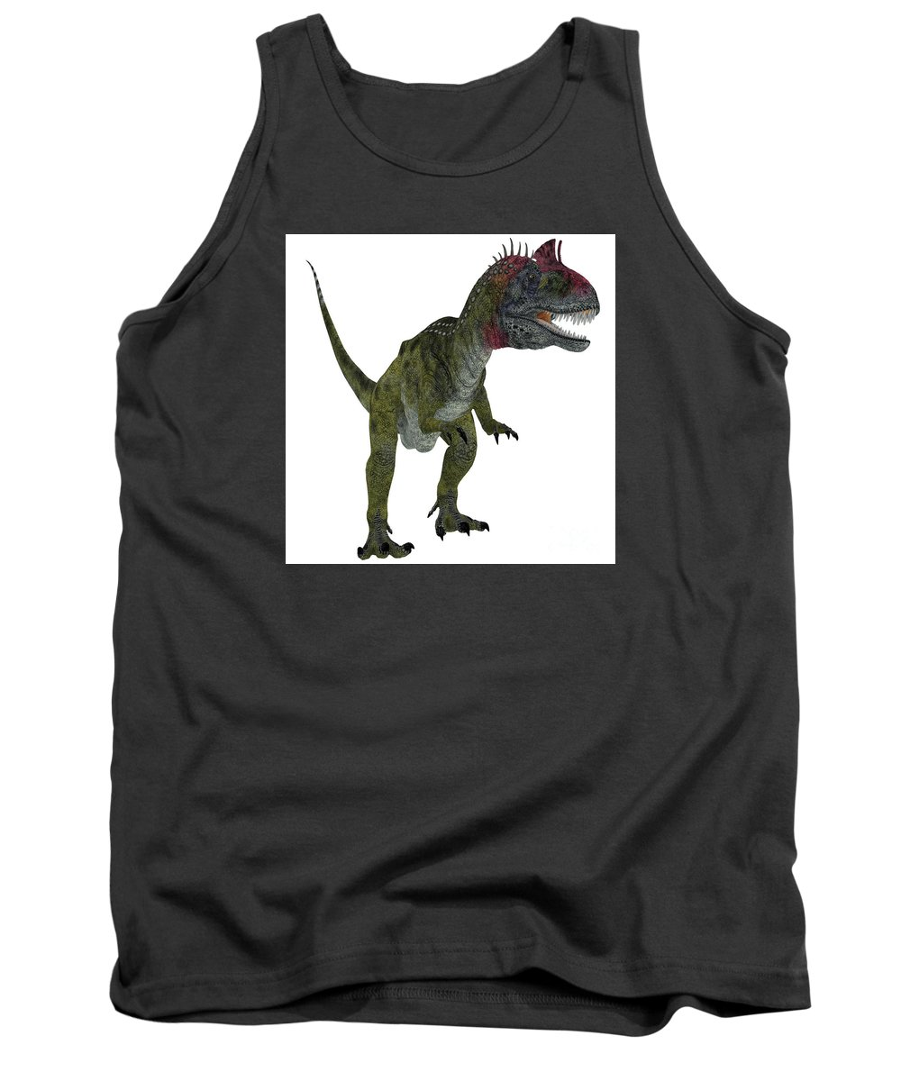 Cryolophosaurus Tank Top featuring the painting Cryolophosaurus On White by Corey Ford