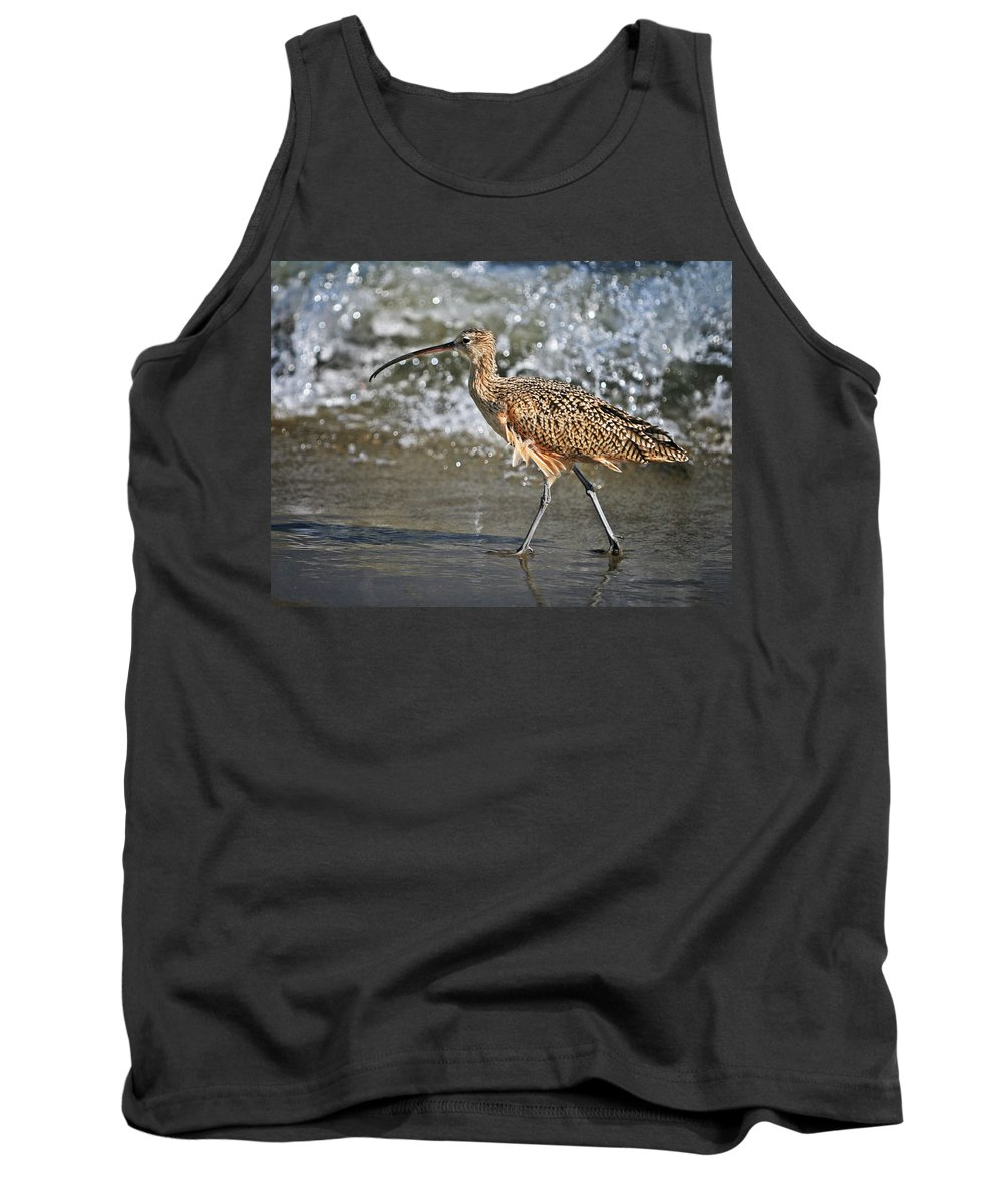 Fauna Tank Top featuring the photograph Curlew And Tides by William Freebilly photography