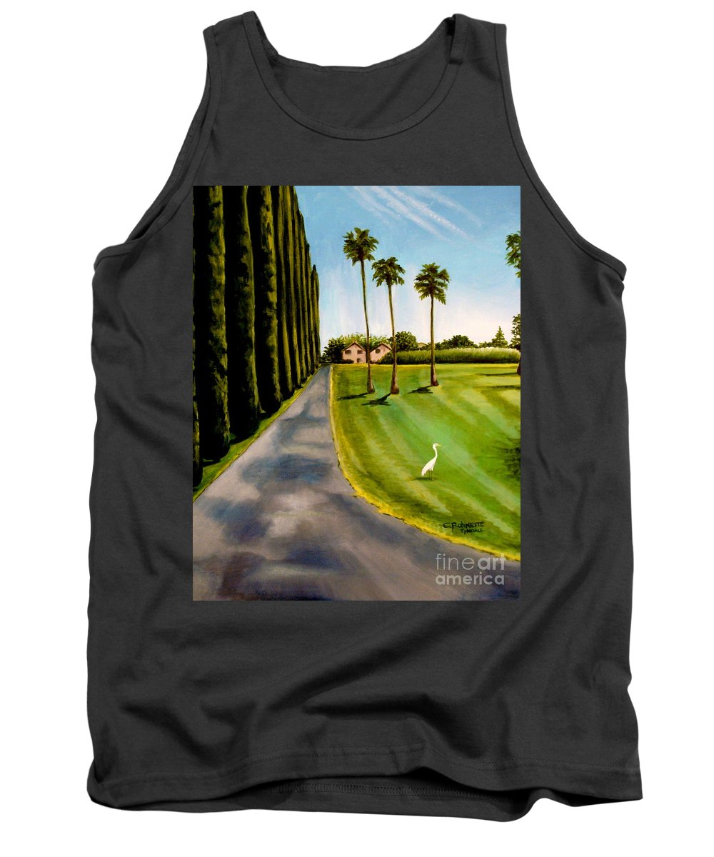 Landscape Tank Top featuring the painting Cypress Palms by Elizabeth Robinette Tyndall