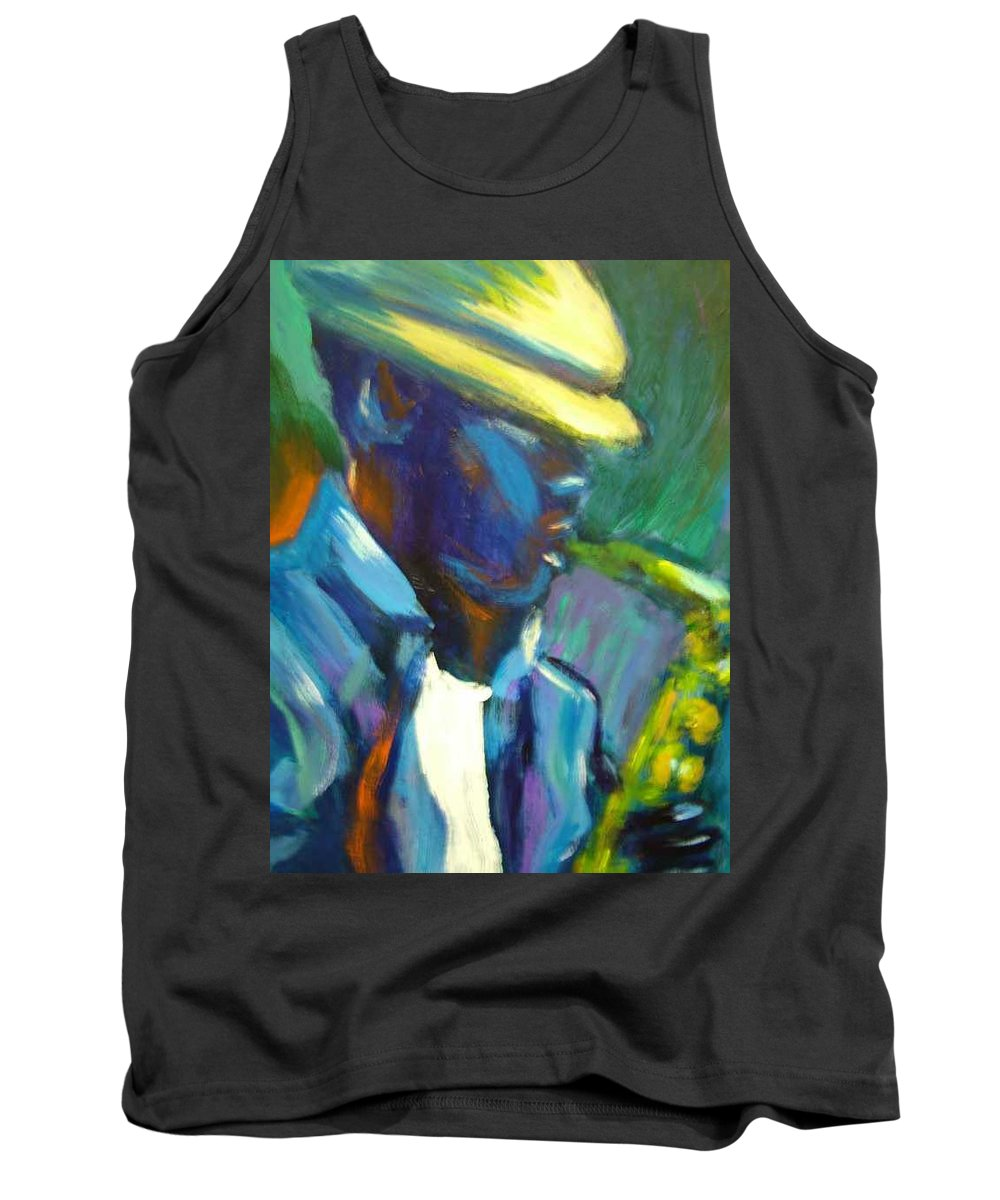 Sax Player Tank Top featuring the painting D by Jan Gilmore