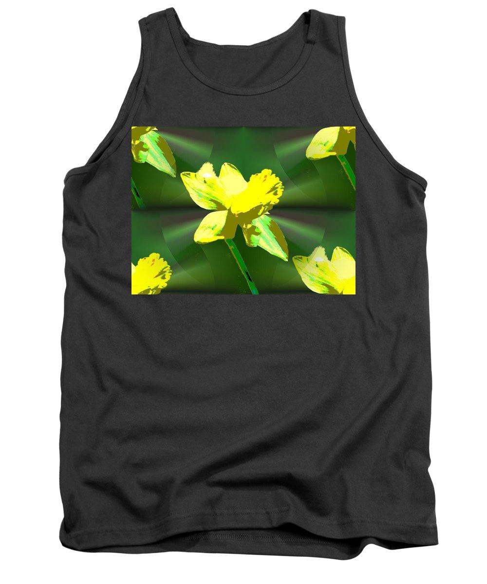 Daffodil Tank Top featuring the digital art Daffodil Delight by Tim Allen