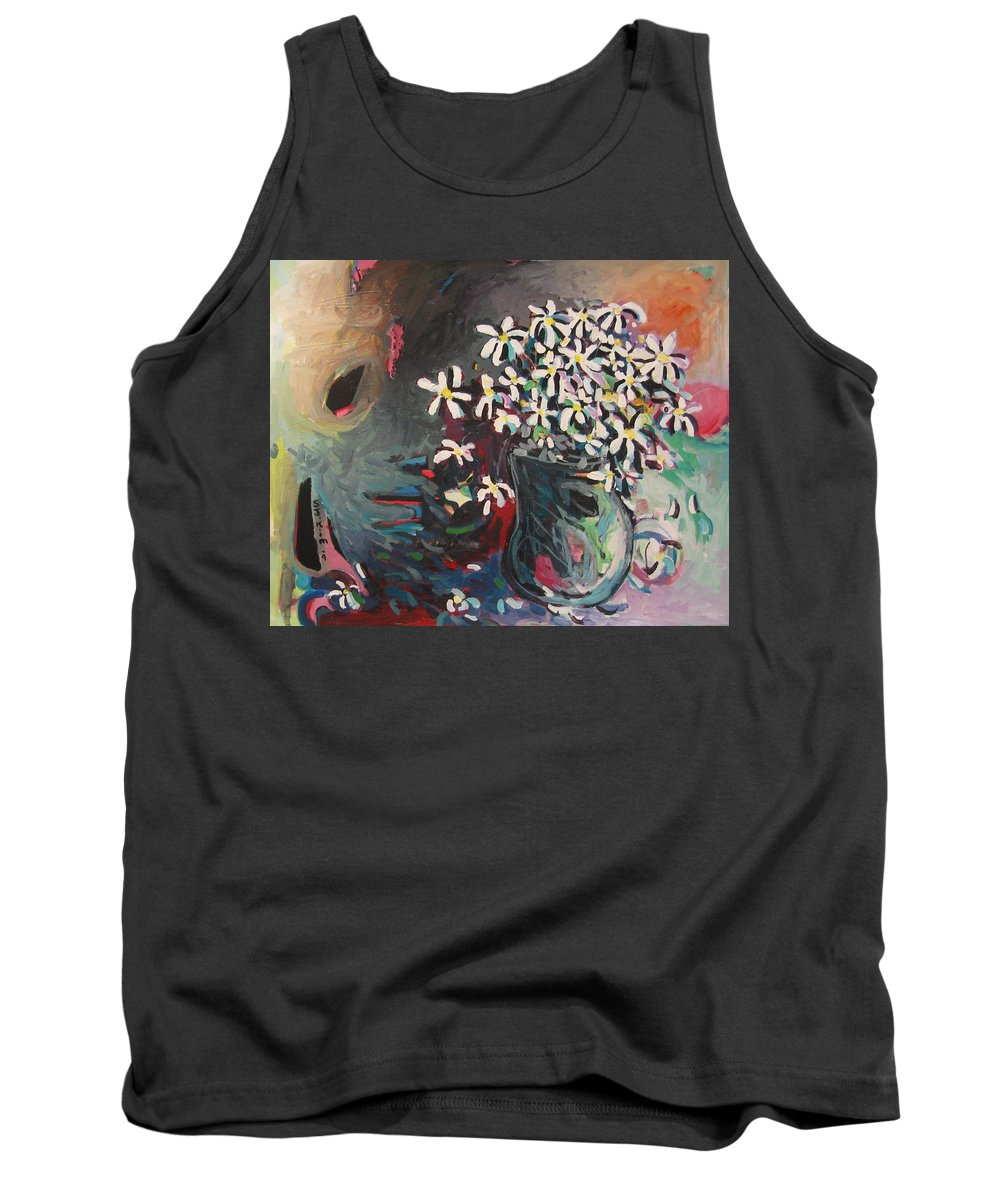 Daisy Paintings Tank Top featuring the painting Daisy In Vase by Seon-Jeong Kim