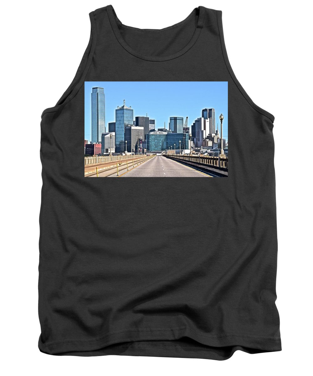 Dallas Tank Top featuring the photograph Dallas In The Rear View by Frozen in Time Fine Art Photography