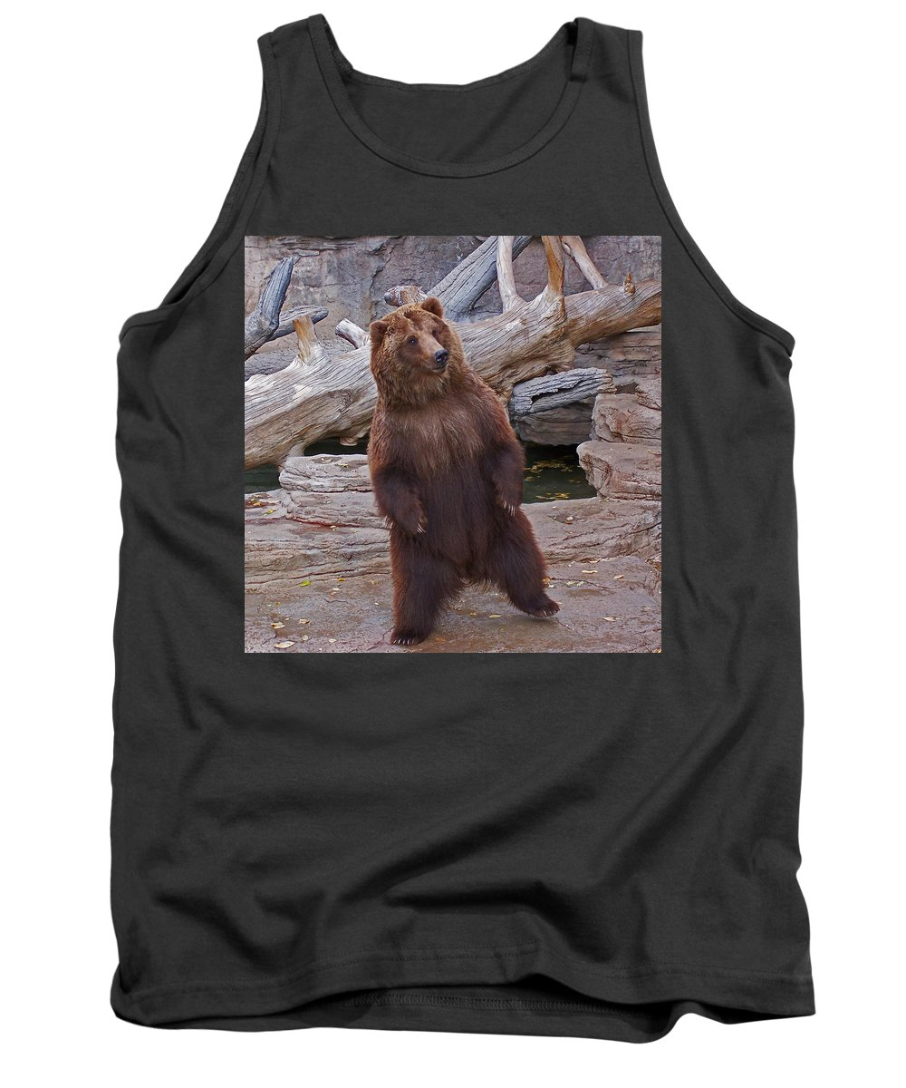 Animals Tank Top featuring the photograph Dancing Grizzly by Ernie Echols