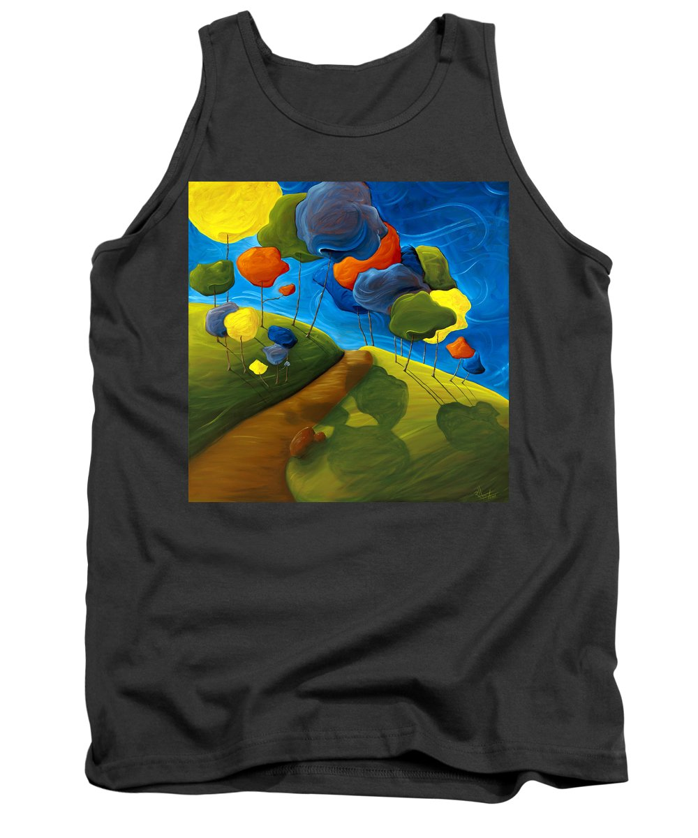 Landscape Tank Top featuring the painting Dancing Shadows by Richard Hoedl