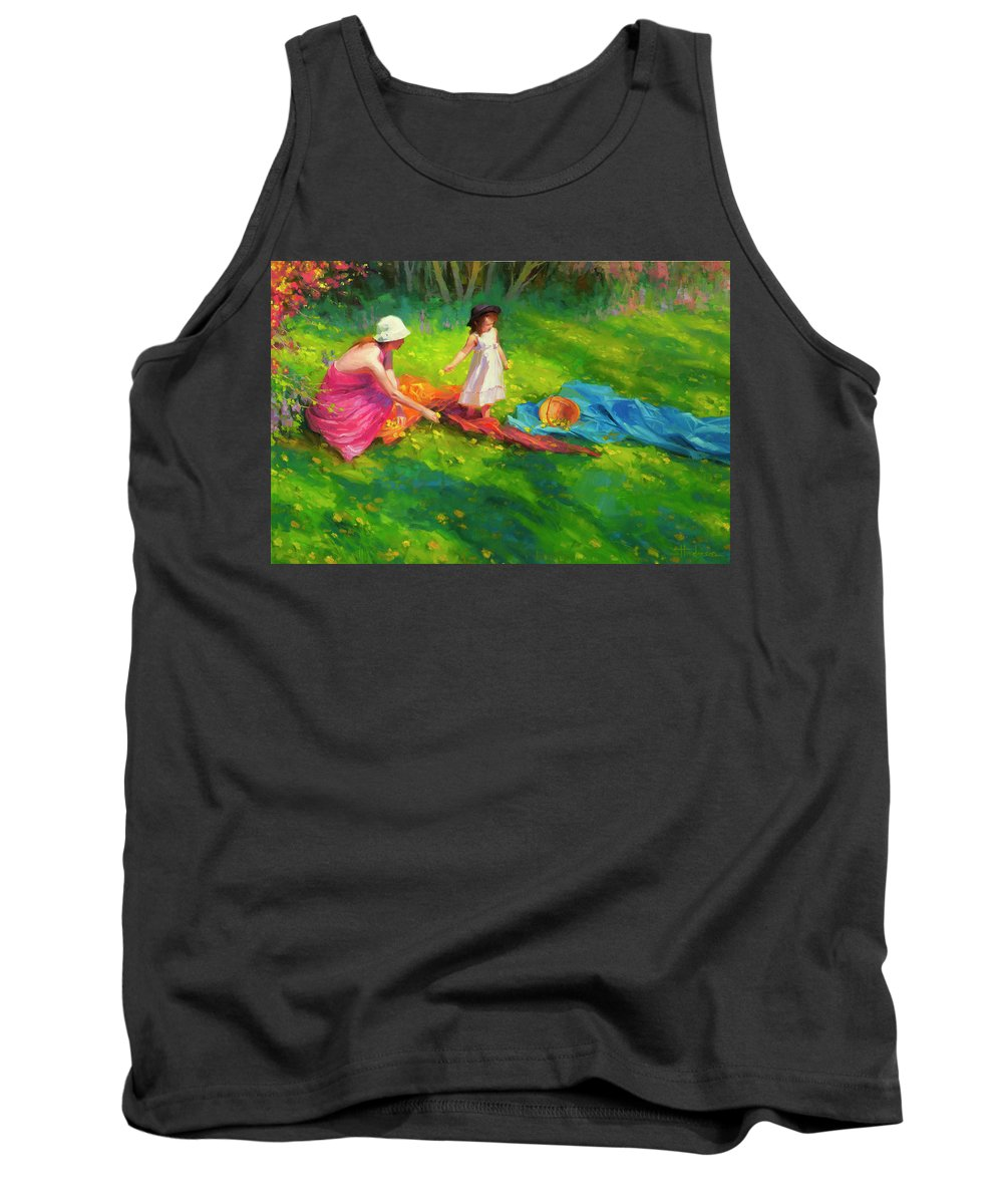 Country Tank Top featuring the painting Dandelions by Steve Henderson