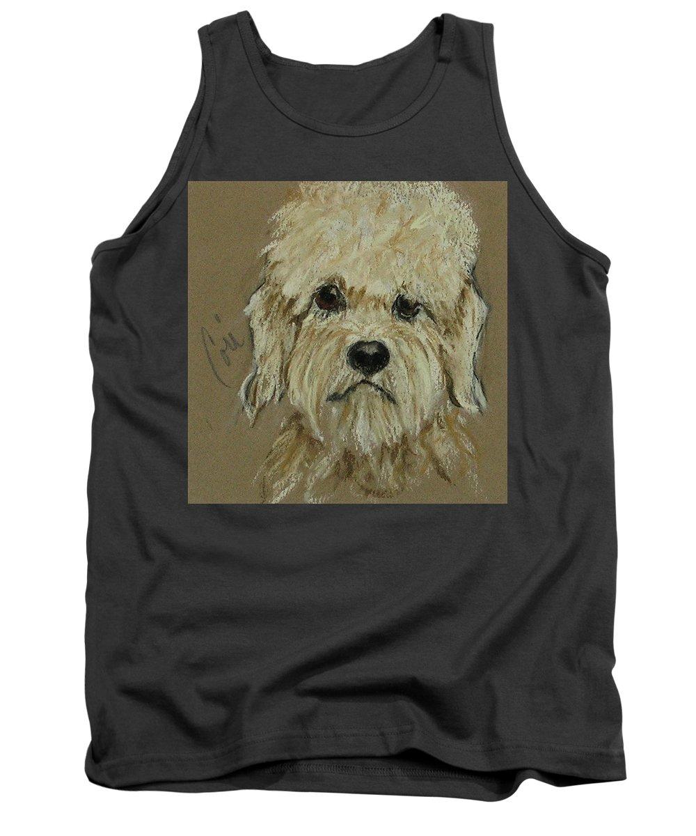 Dandie Dinmont Terrier Tank Top featuring the drawing Dandie by Cori Solomon