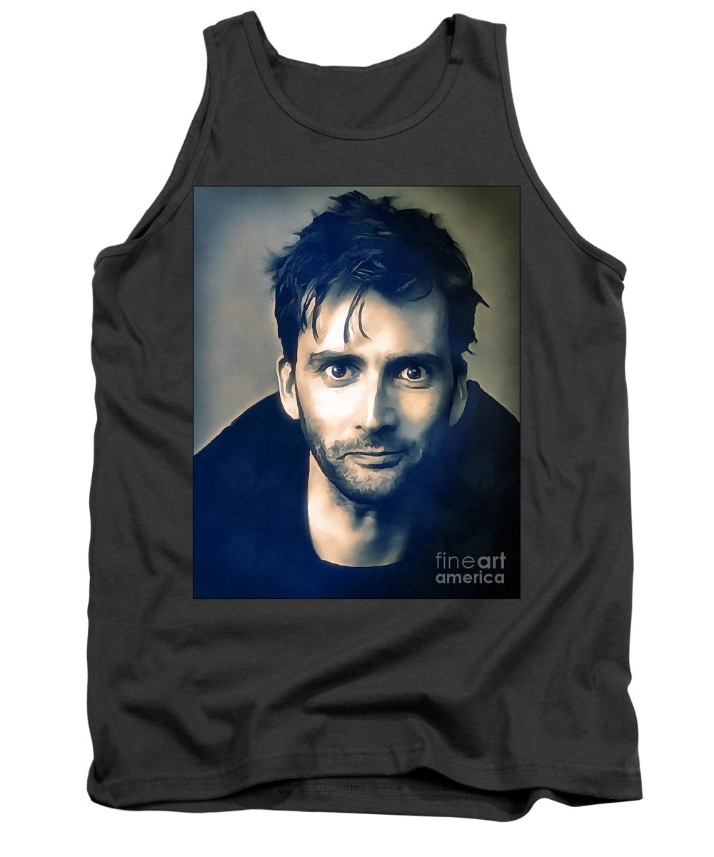 Doctor Who Tank Top featuring the digital art David Tennant by Robert Radmore