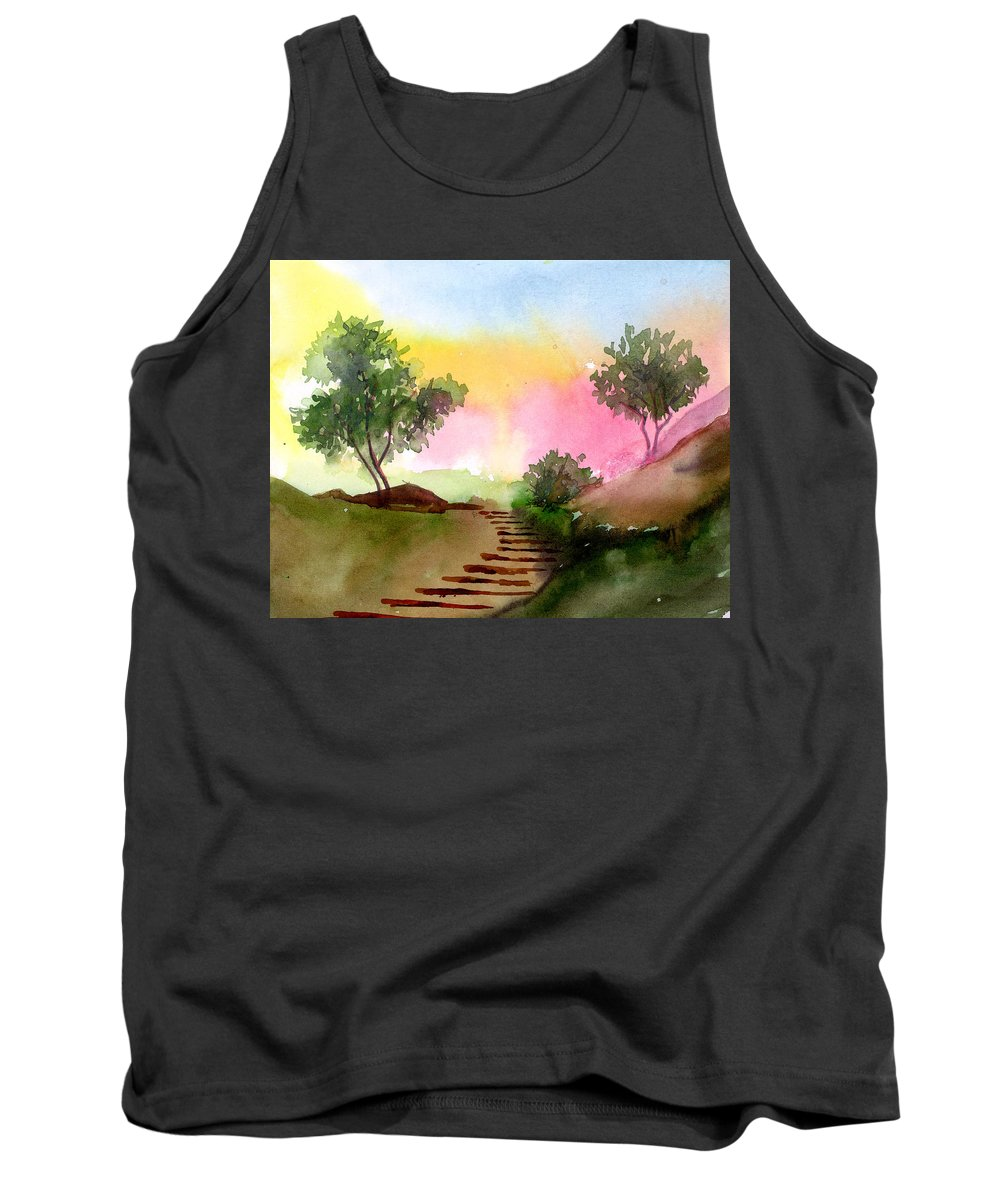 Landscape Tank Top featuring the painting Dawn by Anil Nene