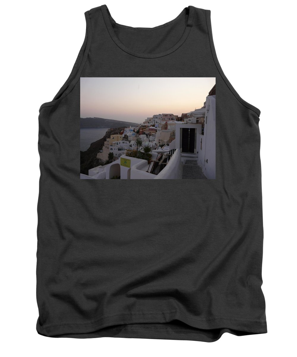 Landscape Tank Top featuring the photograph Dawn In Oia Santorini Greece by Valerie Ornstein