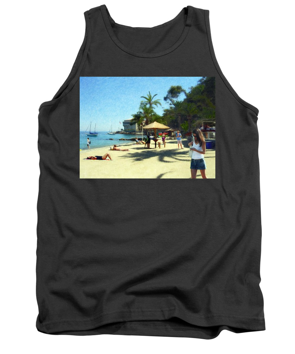 Beach Tank Top featuring the digital art Day At The Beach by Snake Jagger