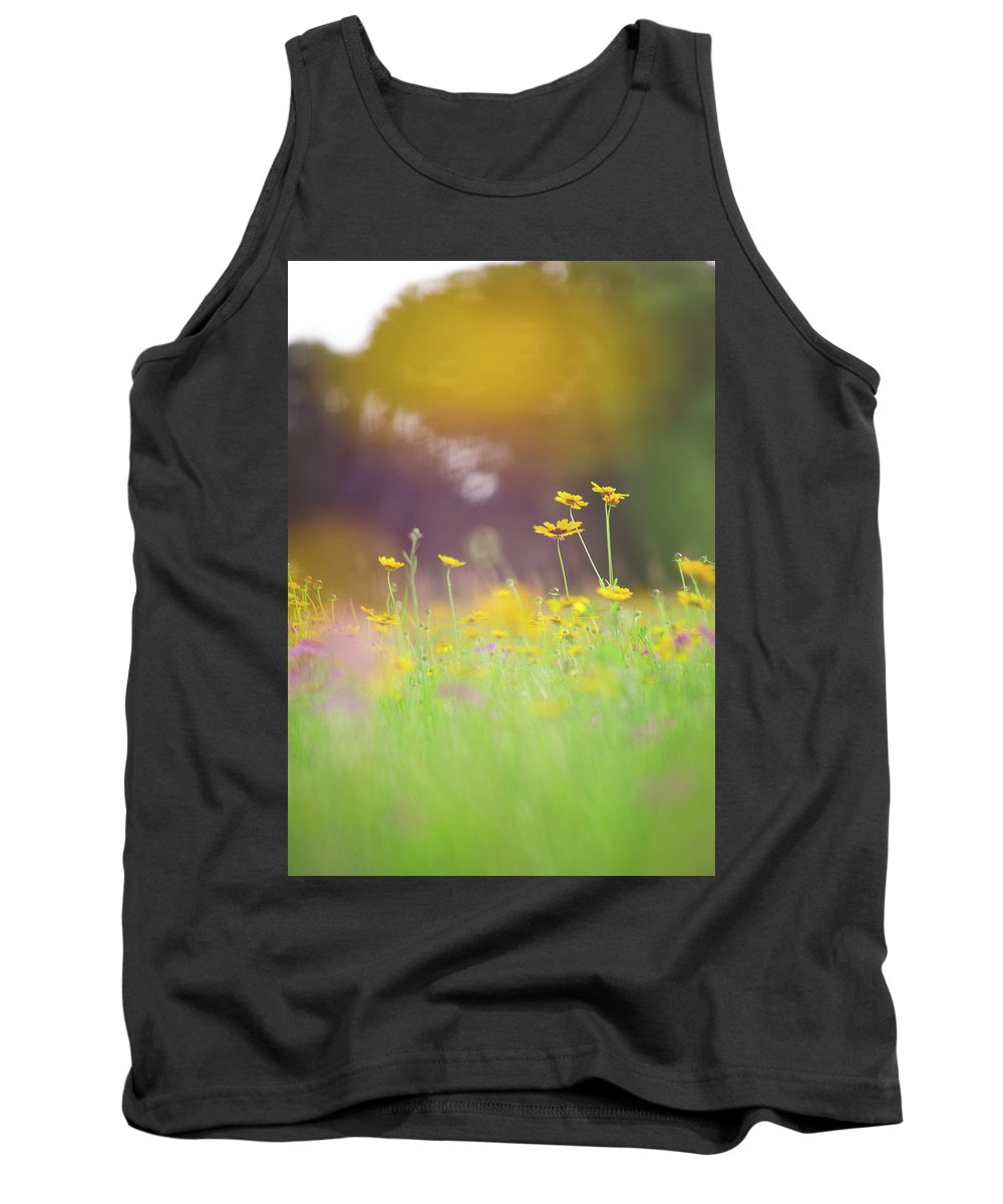 Flowers Yellow Landscape Outdoors Field Flowers Petals Purple Green Tank Top featuring the photograph Daydreams by Lyssa Peace