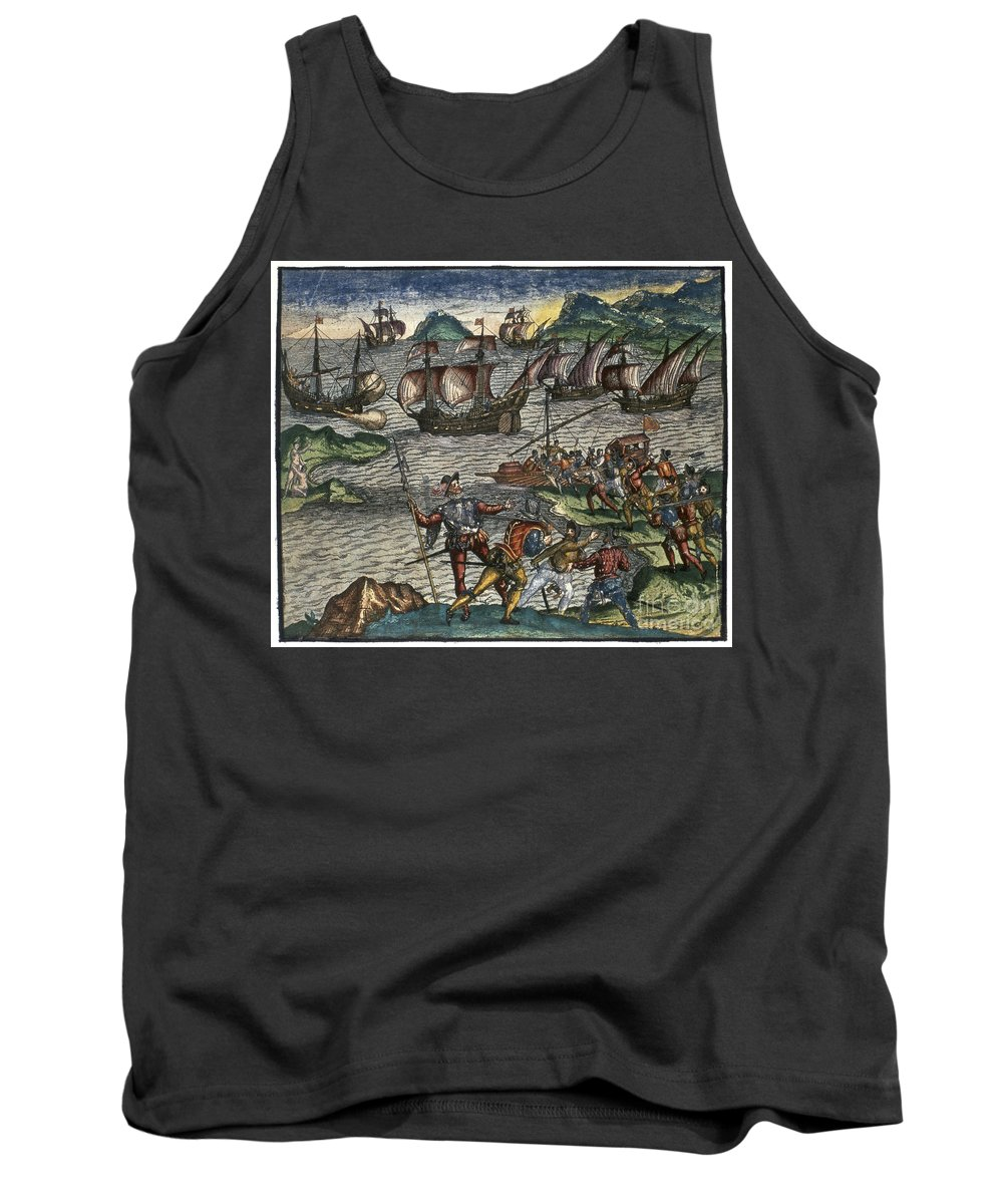 16th Century Tank Top featuring the photograph De Bry: New World by Granger