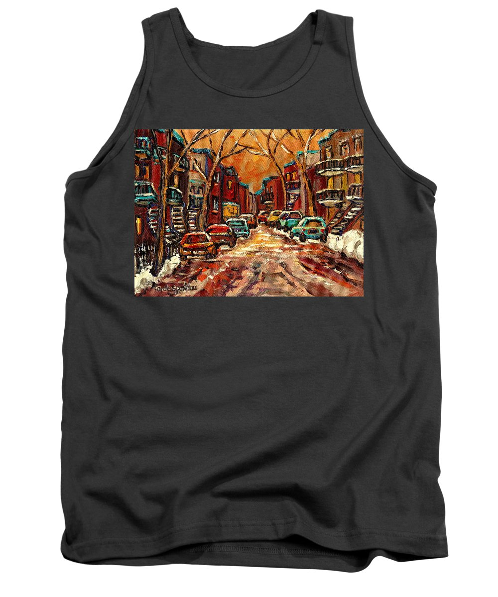 Montreal Tank Top featuring the painting De Bullion Street Montreal by Carole Spandau