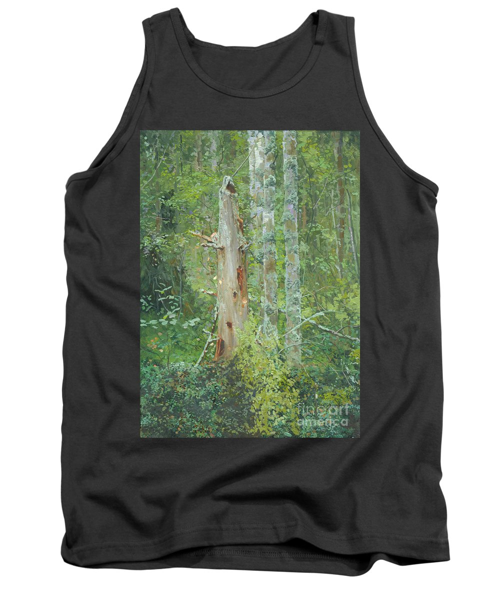 Old Tree Tank Top featuring the painting Dead Tree by Simon Kozhin
