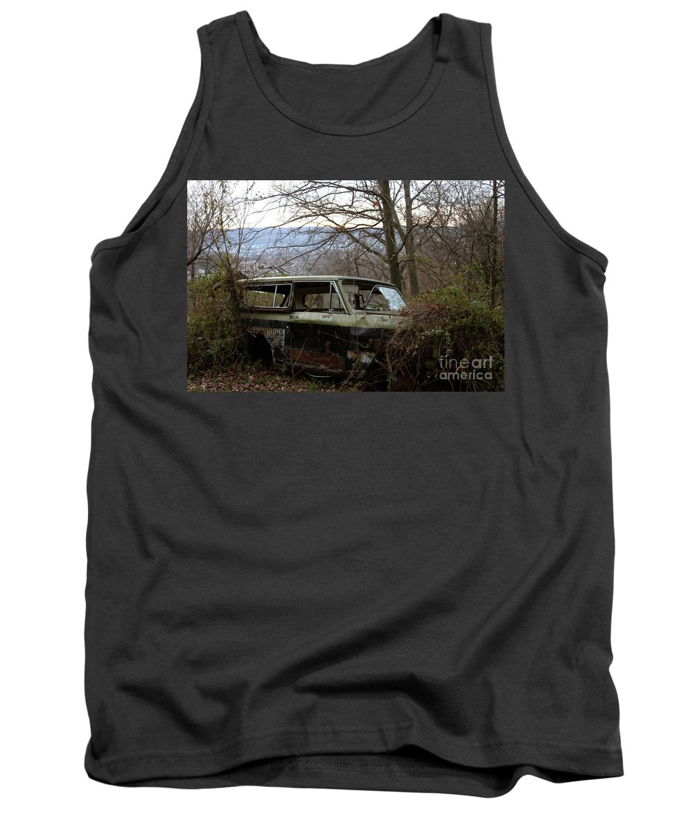 Rust Tank Top featuring the pyrography Death Of A Machine by Charles Long