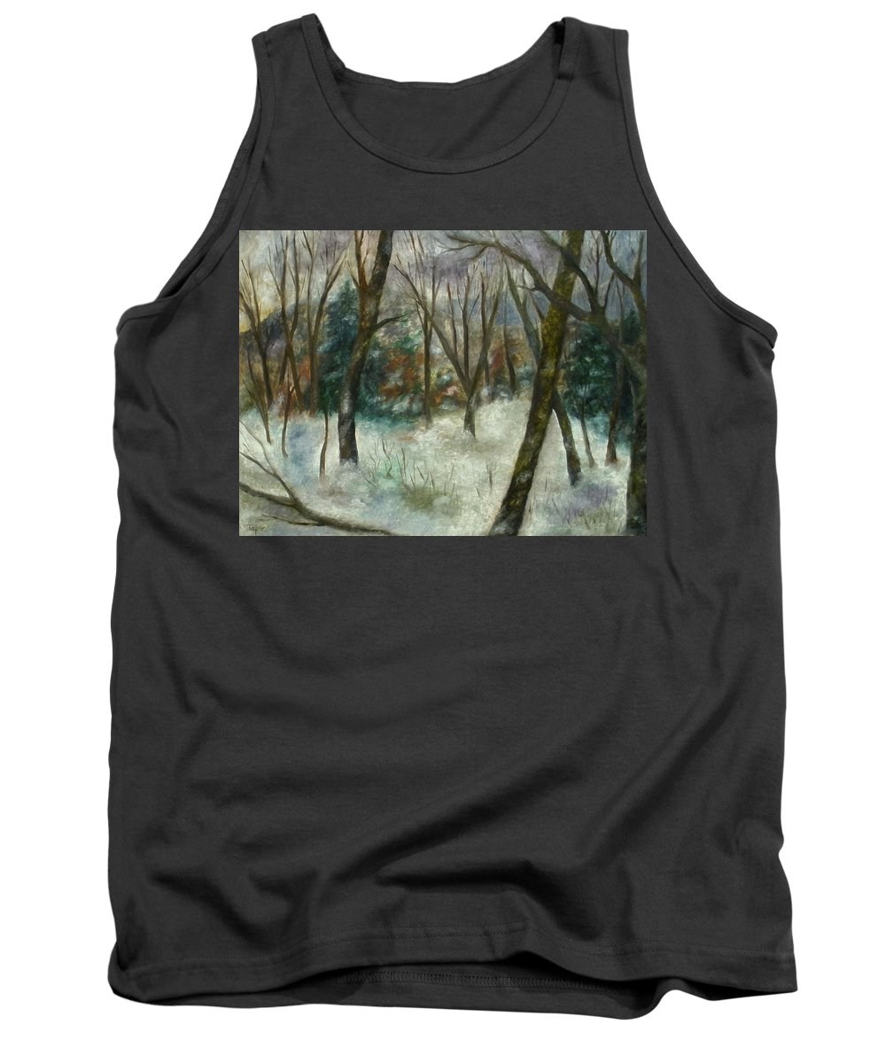 Forest Tank Top featuring the painting December On Cooper Hill by FT McKinstry