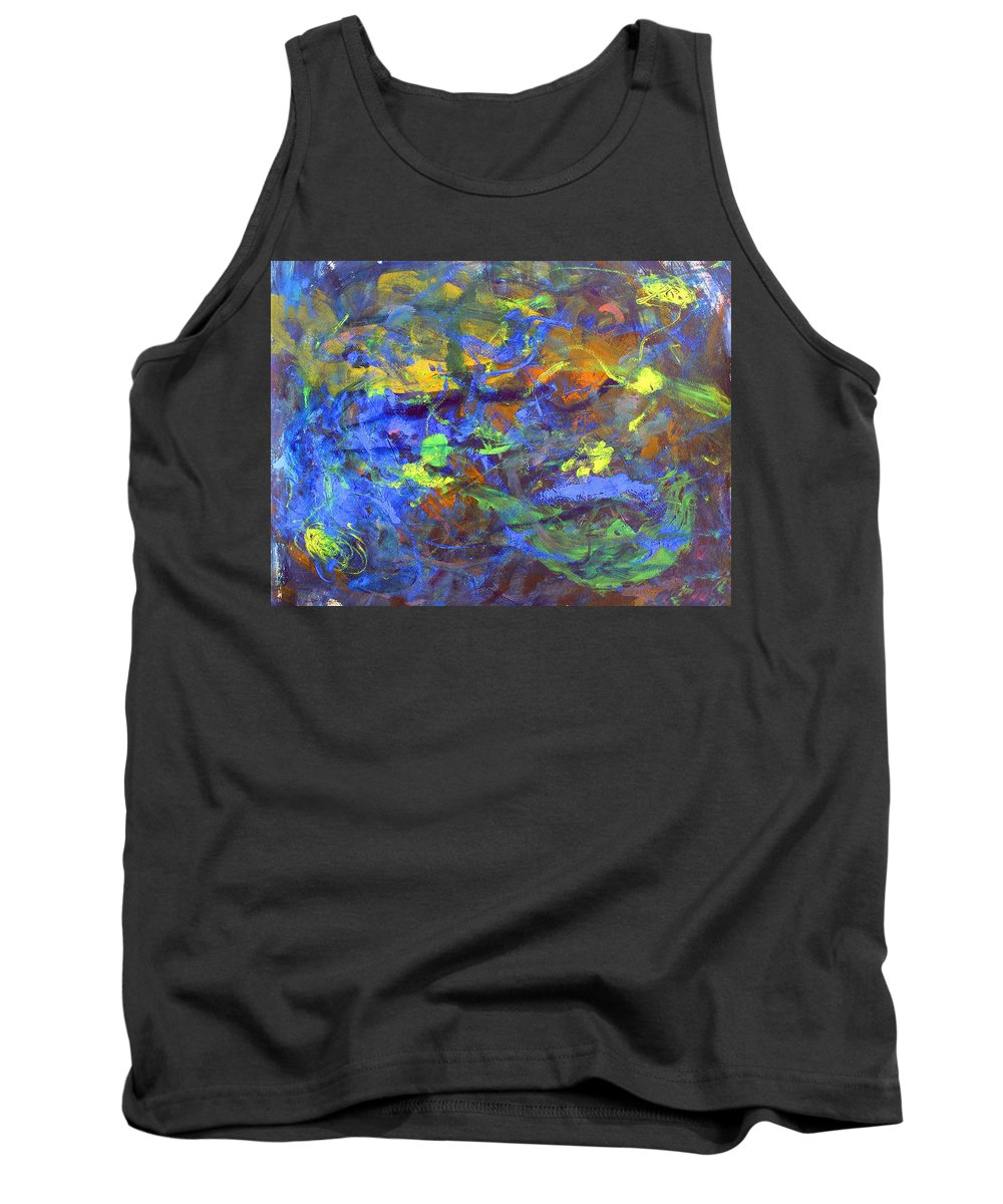 Abstract Tank Top featuring the painting Deep Space Abstract Art by Lee Serenethos