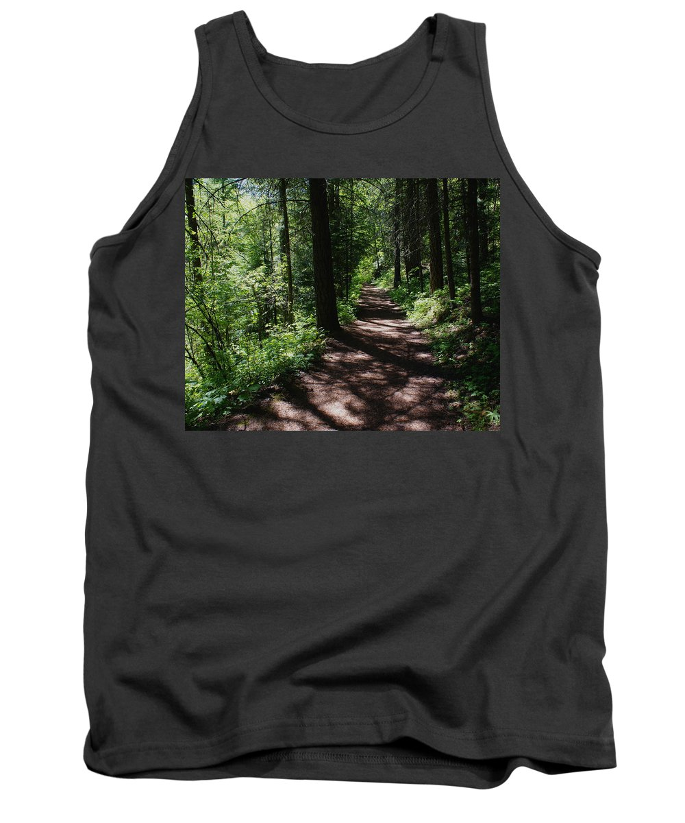 Nature Tank Top featuring the photograph Deep Woods Road by Ben Upham III