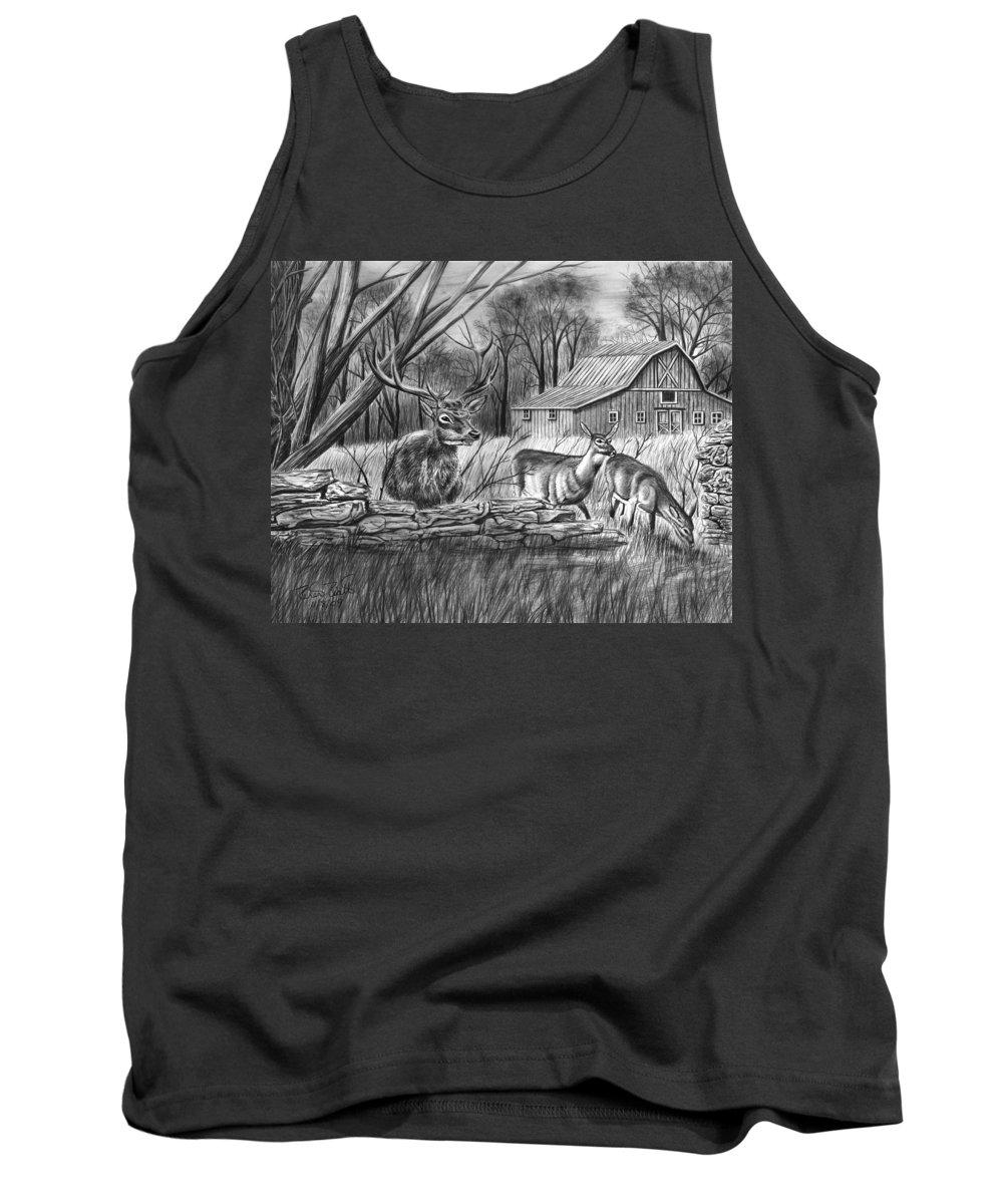 Deer Field Tank Top featuring the drawing Deer Field by Peter Piatt