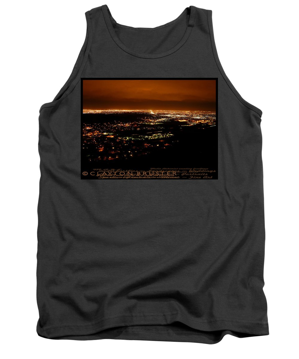 Clay Tank Top featuring the photograph Denver Area At Night From Lookout Mountain by Clayton Bruster