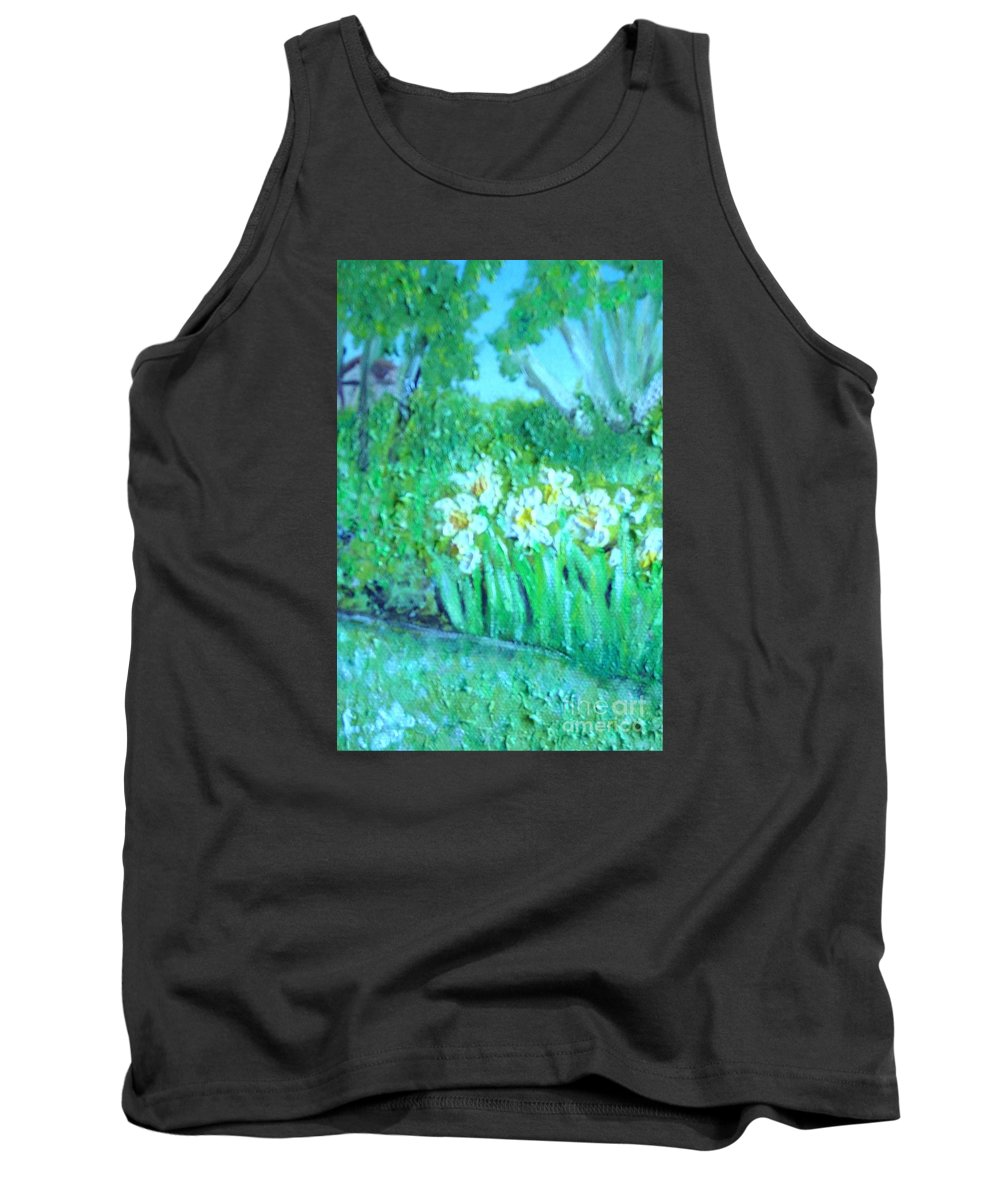Daffodils Tank Top featuring the painting Dependable Daffodils by Laurie Morgan