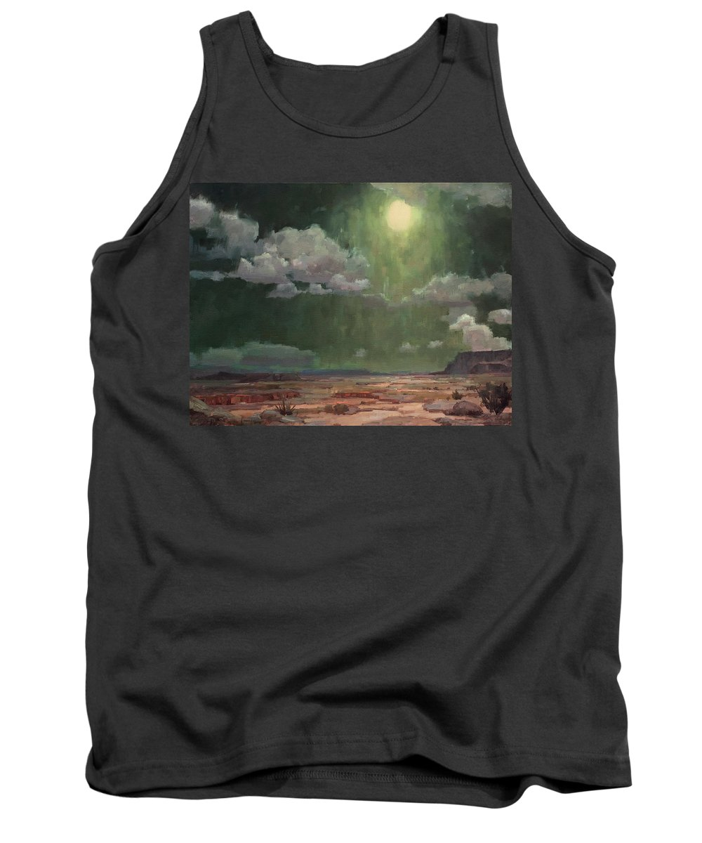 Desert Tank Top featuring the painting Desert By Night by Charles Thomas Fine Art