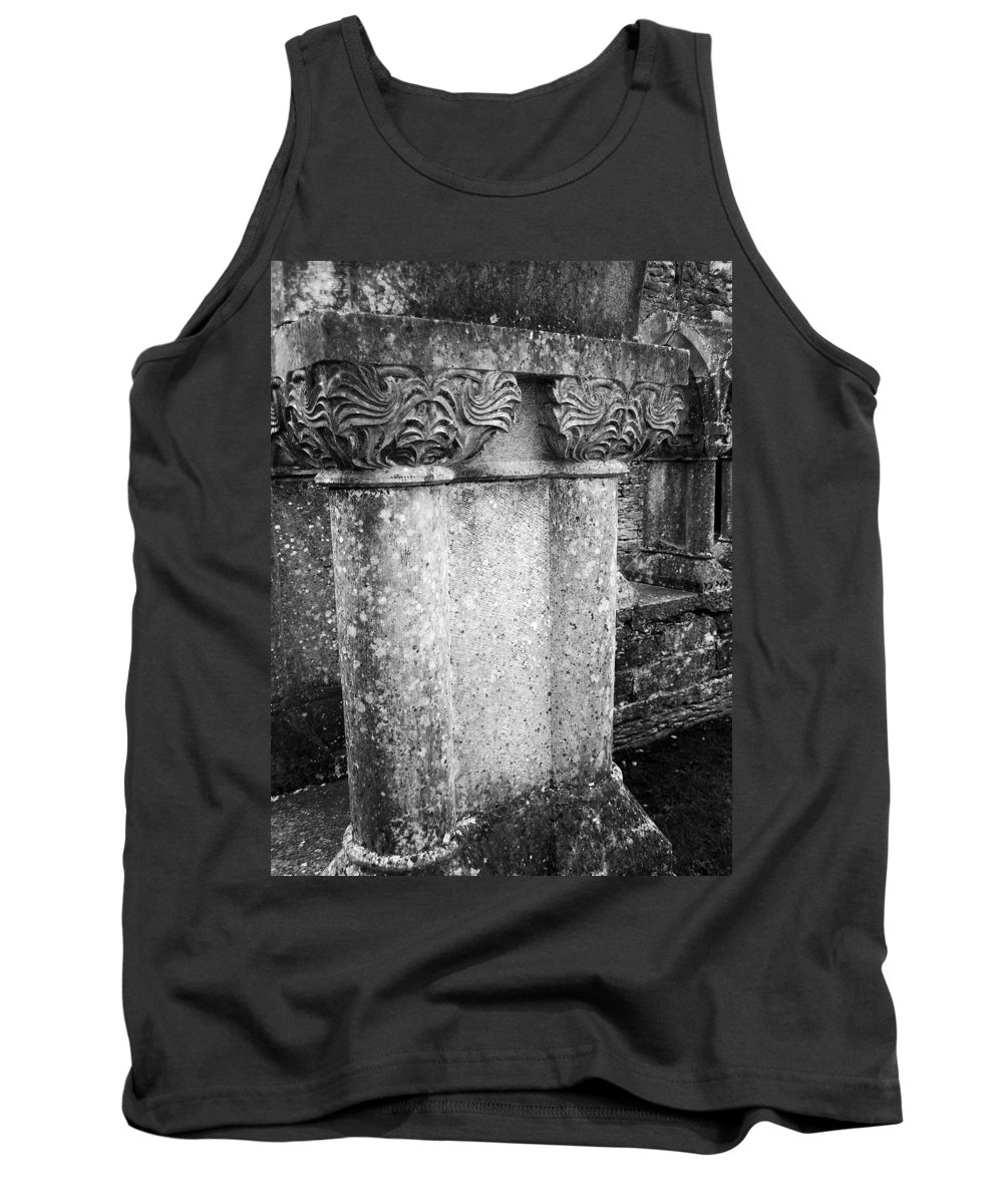 Irish Tank Top featuring the photograph Detail Of Capital Of Cloister At Cong Abbey Cong Ireland by Teresa Mucha