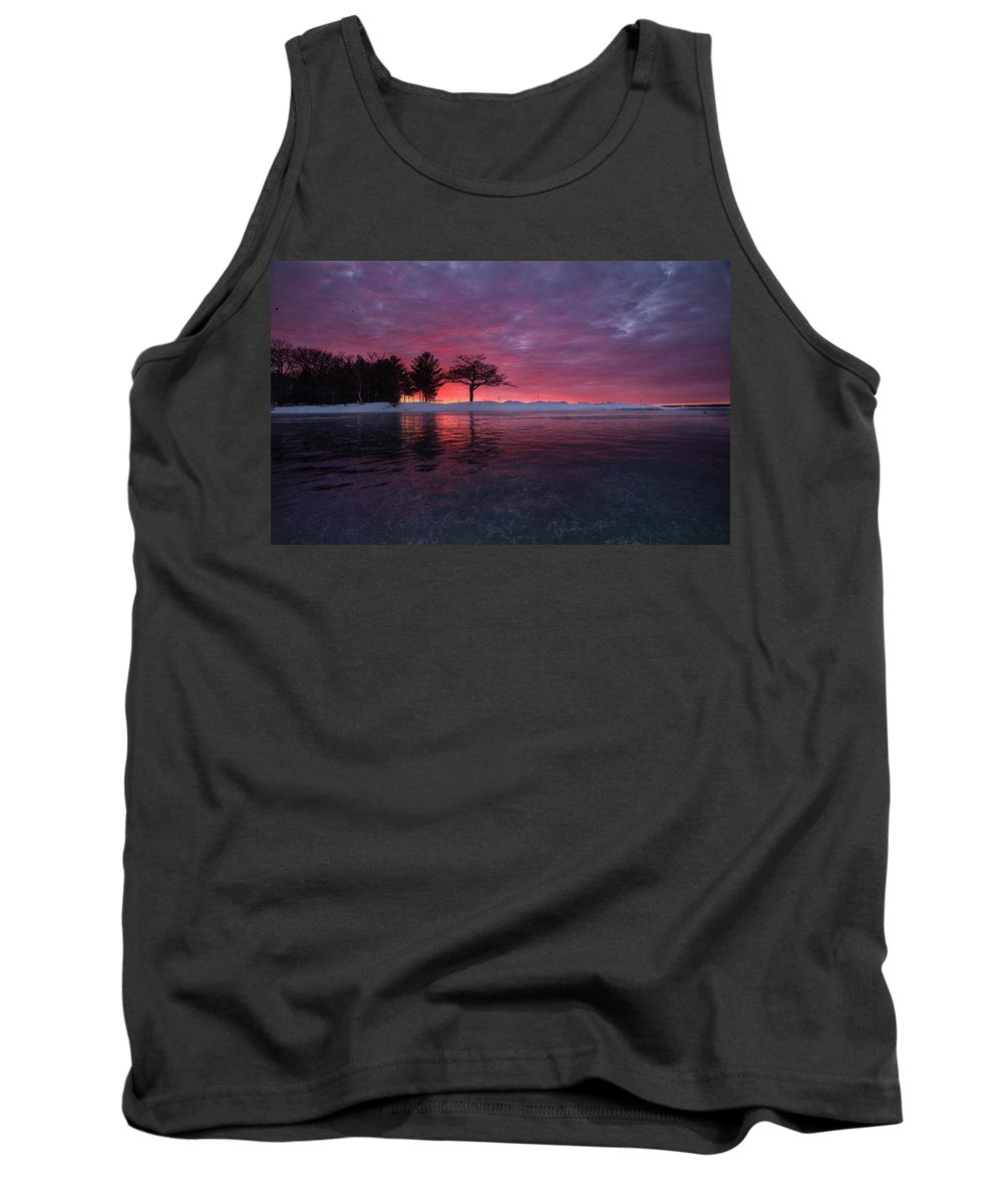 Ice Tank Top featuring the photograph Detroit Point Sunset Off The Ice by Ron Wiltse