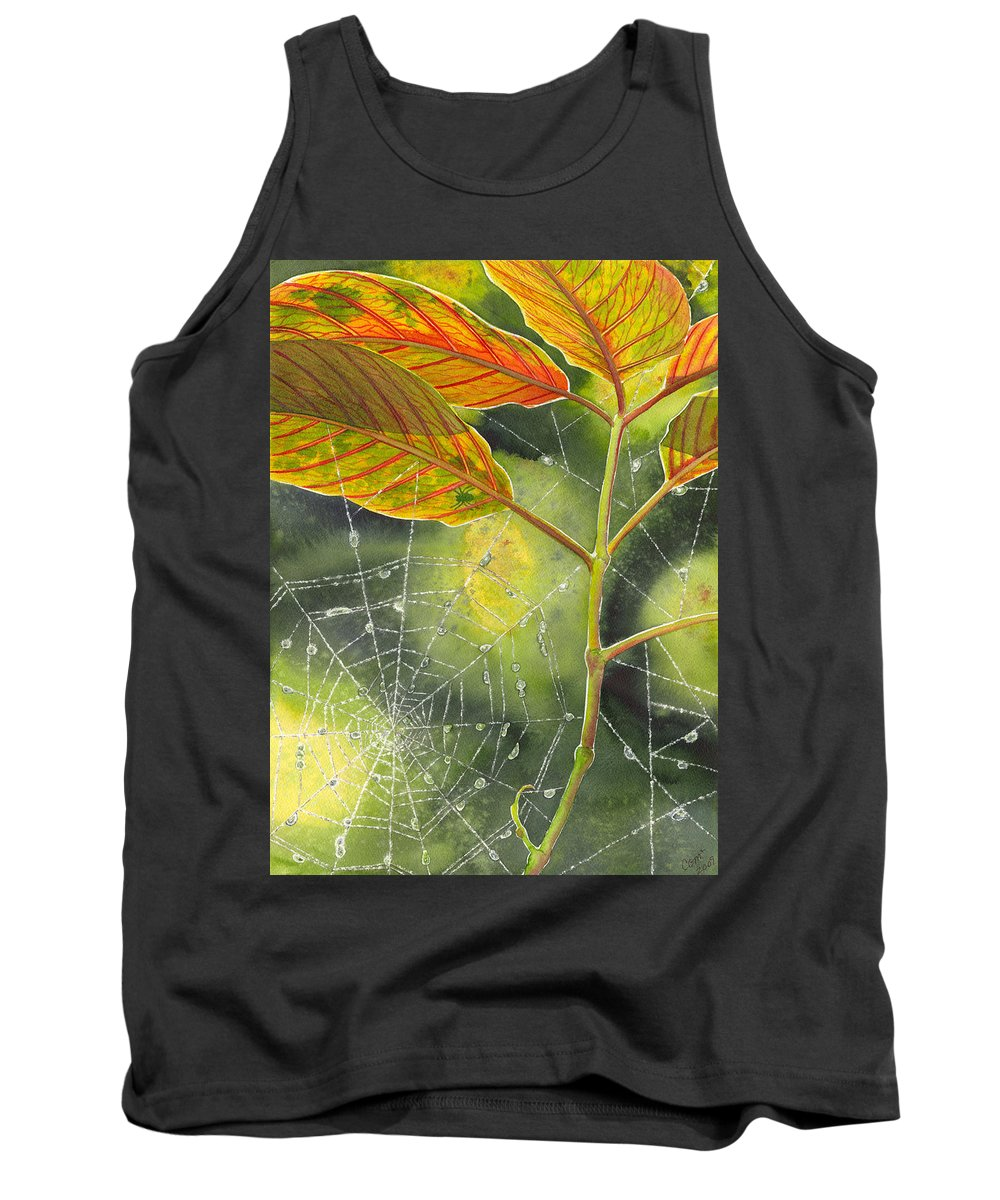 Web Tank Top featuring the painting Dew Drop by Catherine G McElroy
