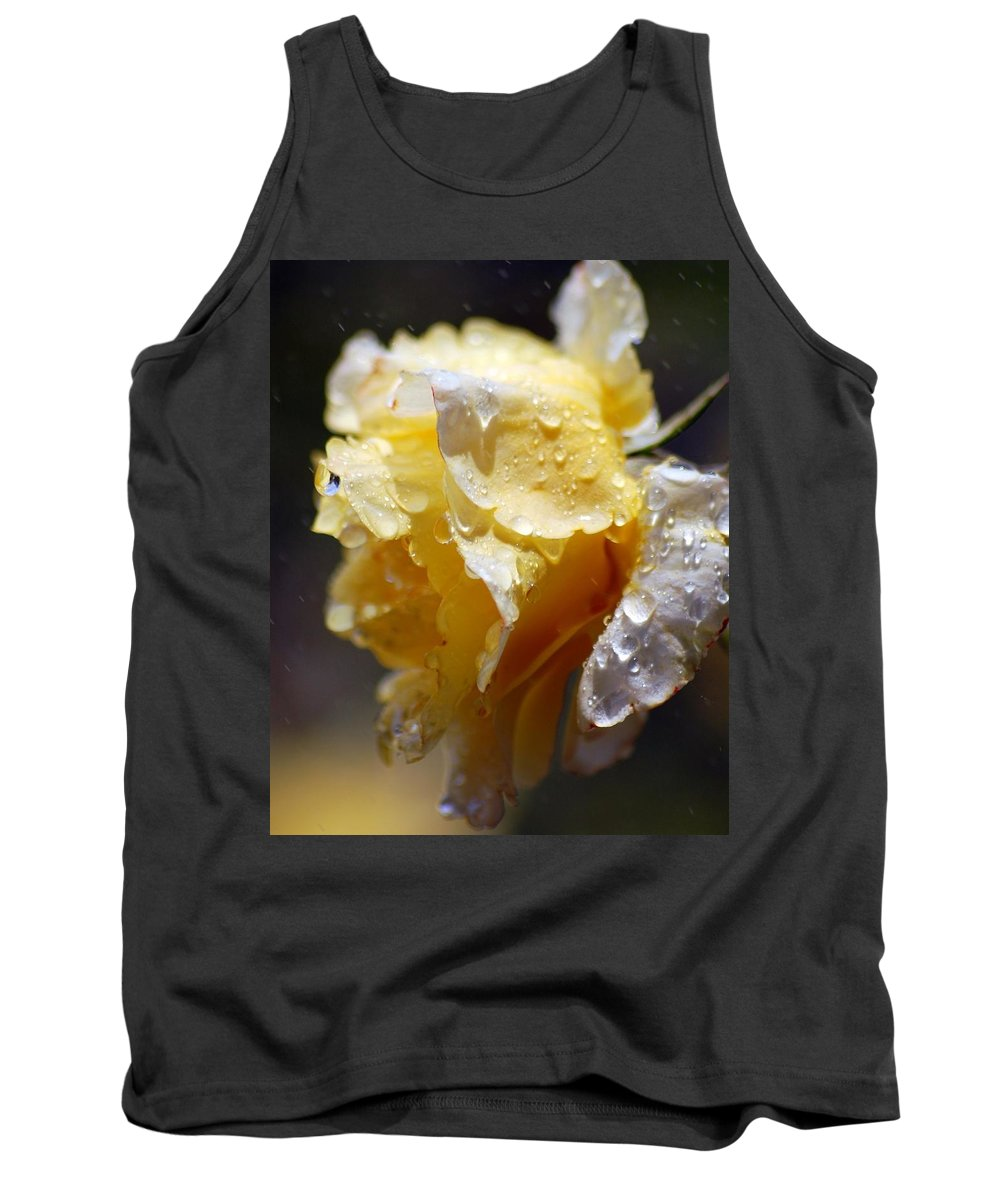 Rose Tank Top featuring the photograph Dewy Yellow Rose 2 by Amy Fose