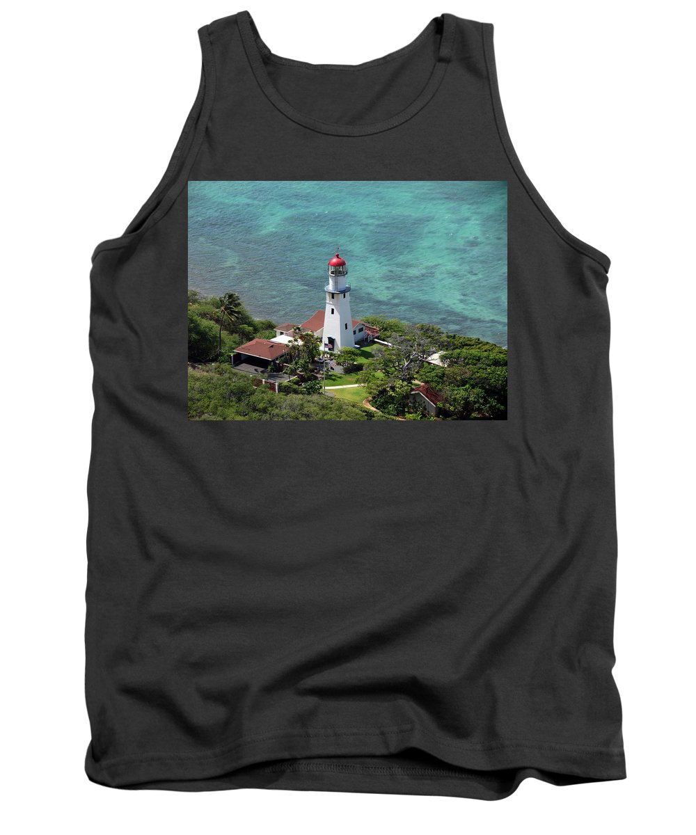 Hawaii Tank Top featuring the photograph Diamond Head Lighthouse by Julie Jernegan