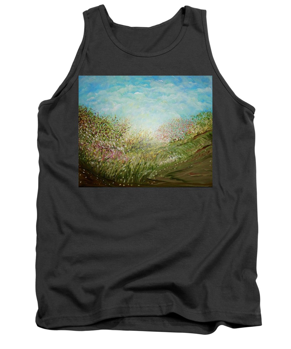Inspirational Landscape Tank Top featuring the painting Dieu Merci' by Sara Credito