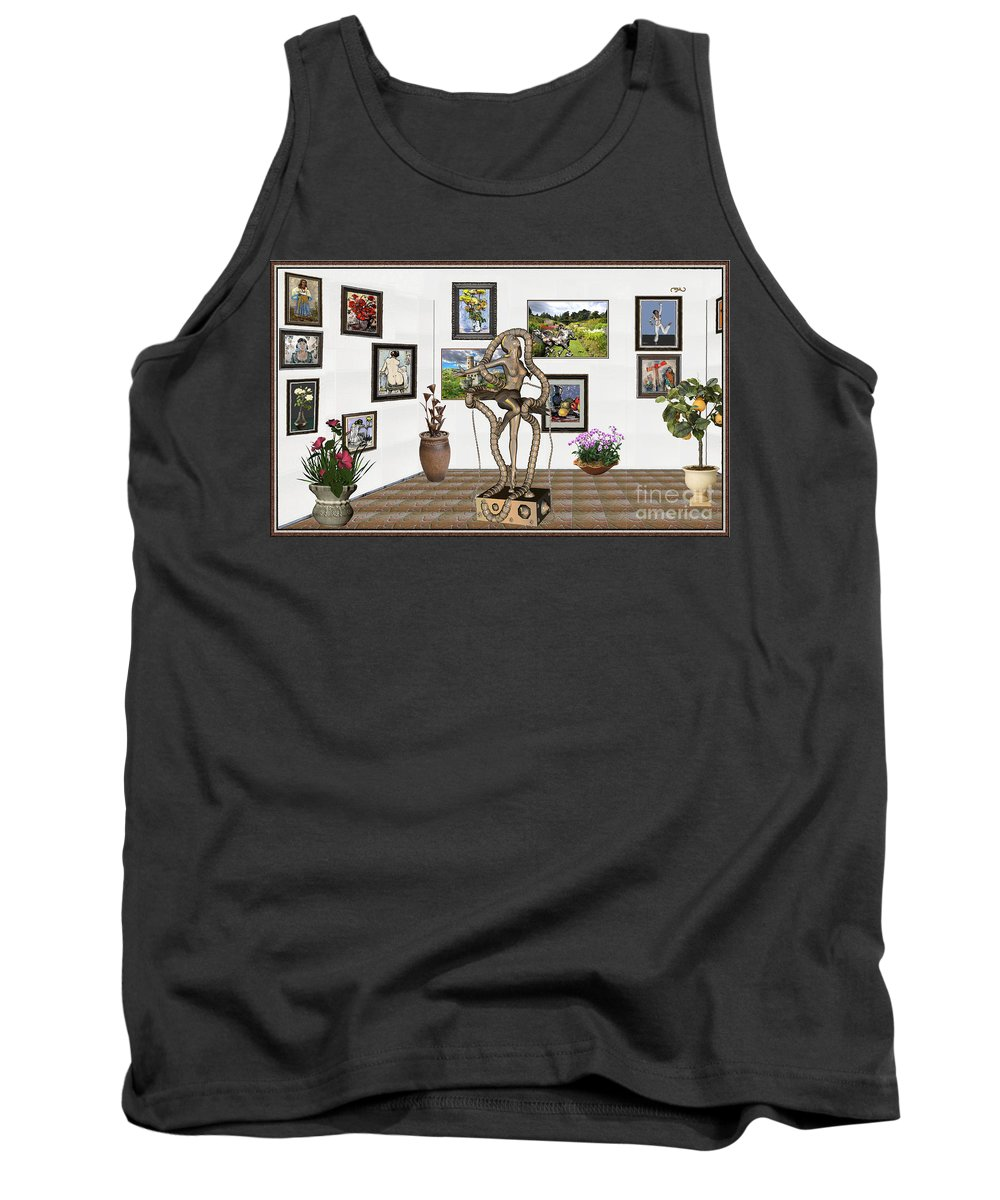 Modern Painting Tank Top featuring the mixed media Digital Exhibition _ Modern Statue  Of Dancing Girl by Pemaro