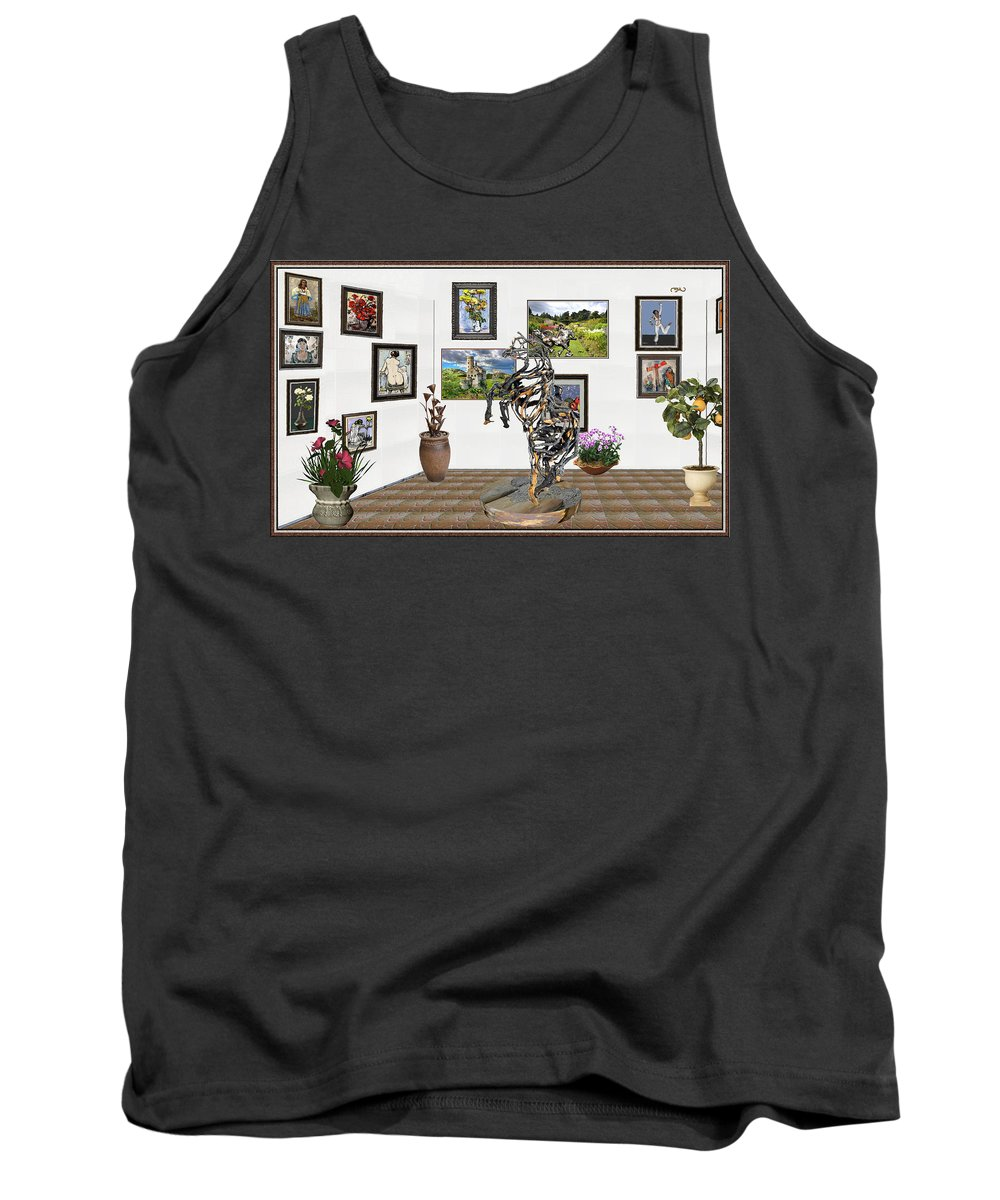 Modern Painting Tank Top featuring the mixed media Digital Exhibition _ Statue Of Branches by Pemaro