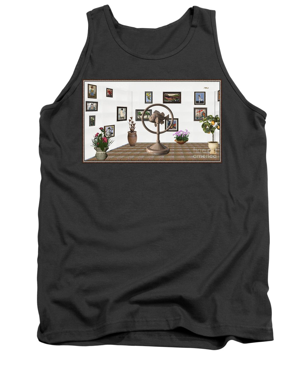 Pemaro Tank Top featuring the mixed media digital exhibition _ Statue of fish 4 by Pemaro
