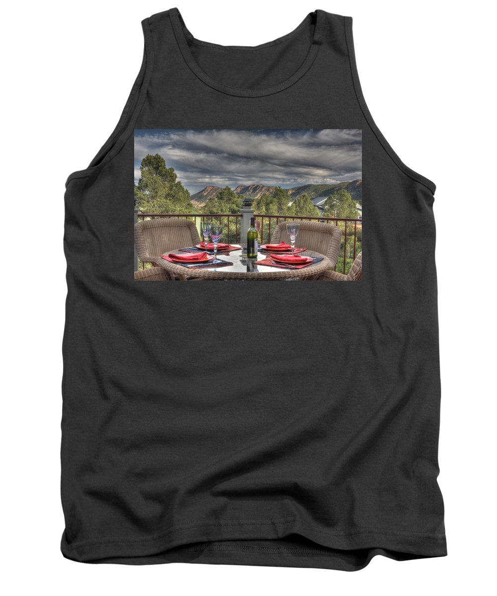Mountains Granite Dells View Nature Trees Blue Sky Clouds Colored Rocks Deck Home For Sale Dining Area Back Deck Payson Northern Arizona Hdr Thomas Todd Photography Tank Top featuring the photograph Dining With A View by Thomas Todd