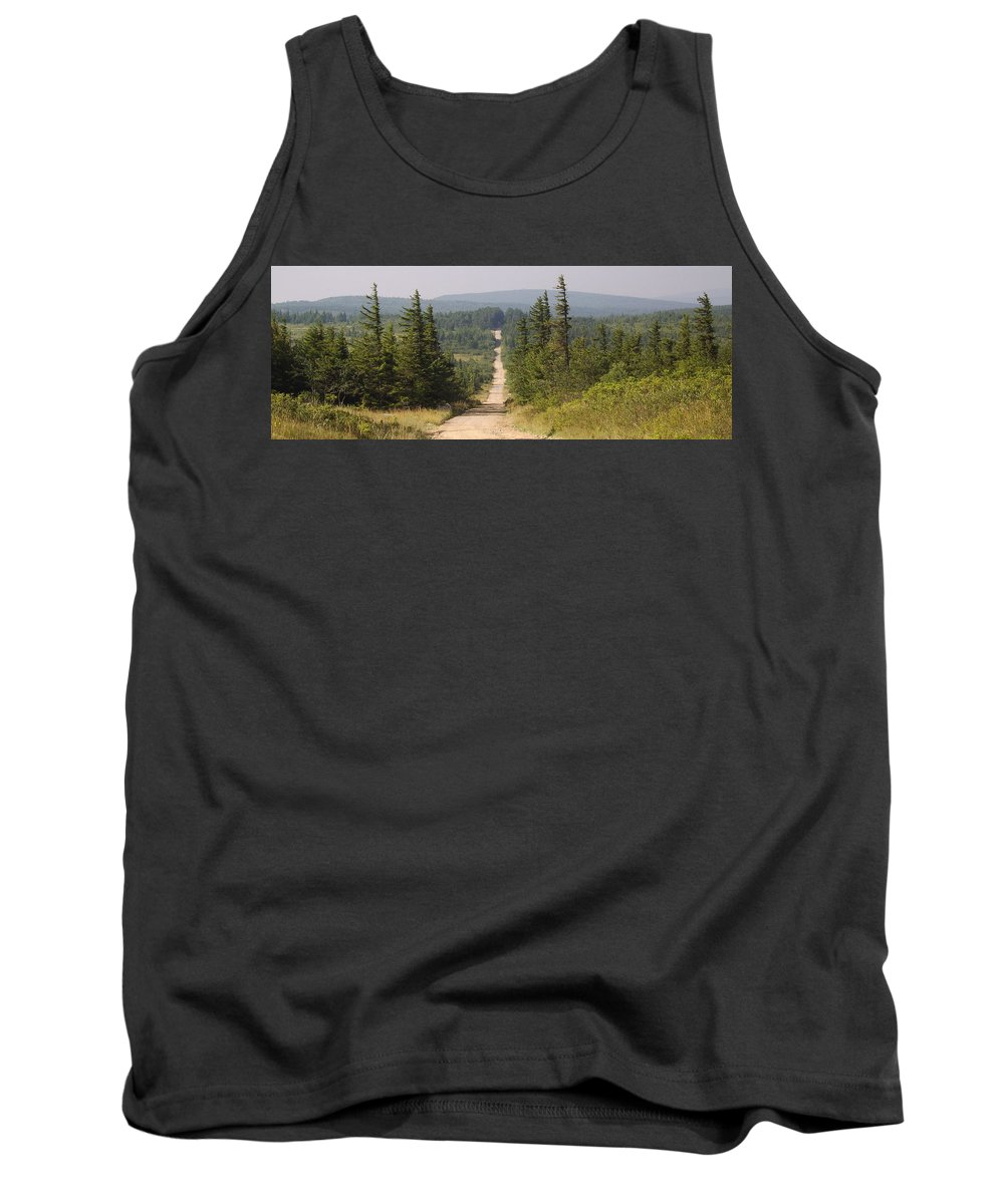 Dirt Road Dolly Sods West Virginia Appalachian Mountain Landscape Images Photgraph Prints Nature Great Outdoors Wilderness Wind Blown Pine Trees Blue Ridge Mountain Prints Tank Top featuring the photograph Dirt Road To Dolly Sods by Joshua Bales