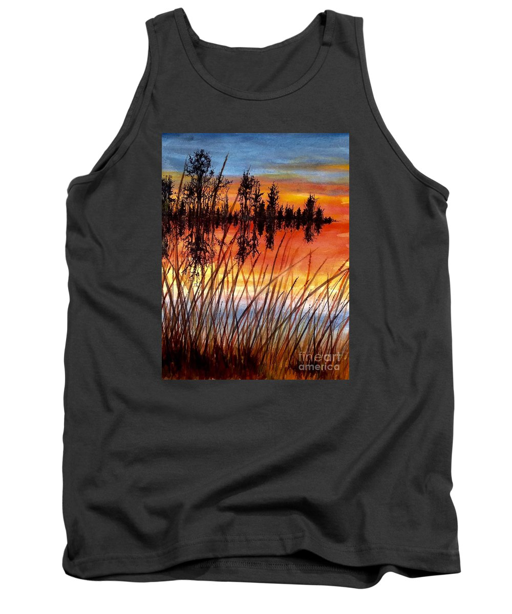 Landscape Sunrise Tank Top featuring the painting Distant Reflections by Karen Ann