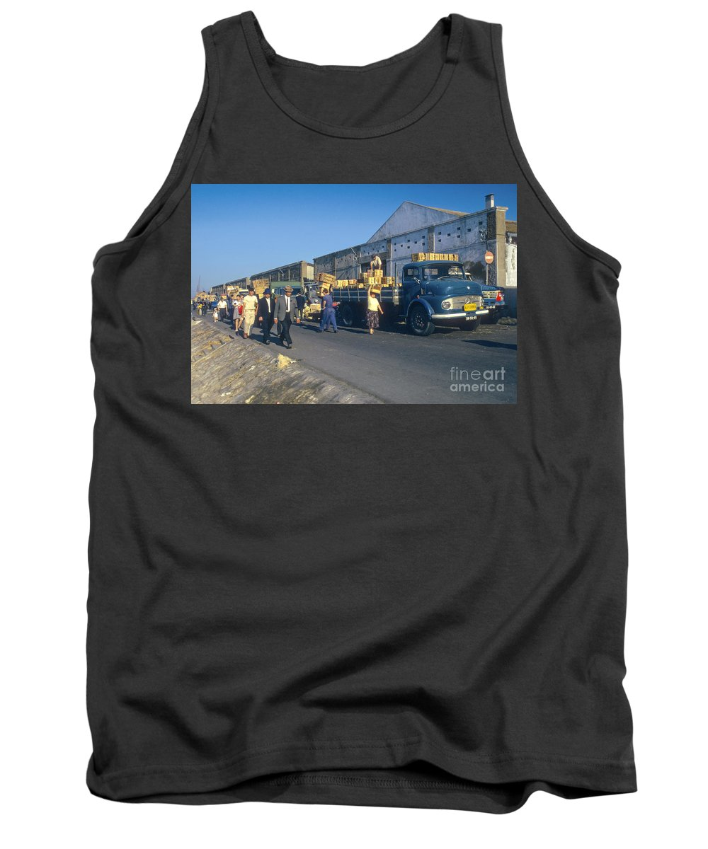 Lisbon Portuguese Republic Portugal Men Man Woman Women People Person Persons Creature Creatures Dock Workers Docks Worker Truth Trucks Warehouse Warehouses Cityscape Cityscapes City Cities Digital Art Tank Top featuring the photograph Dock Workers by Bob Phillips