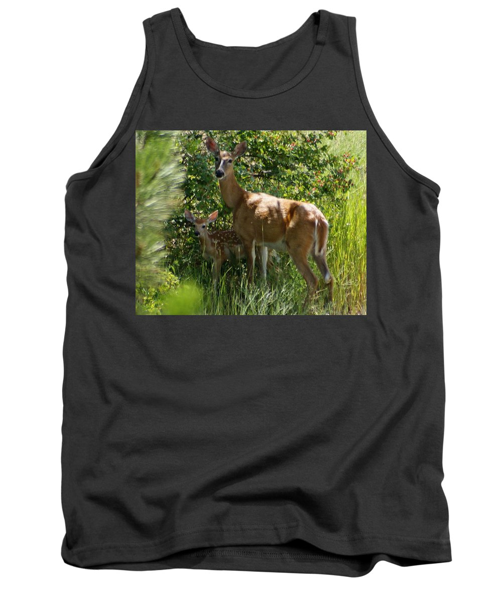Spokane Tank Top featuring the photograph Doe And Fawn by Ben Upham III