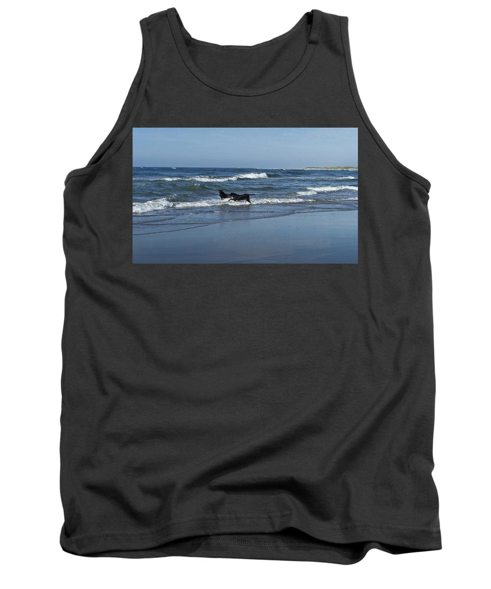 Dog Tank Top featuring the photograph Dogs In The Surf by Teresa Mucha