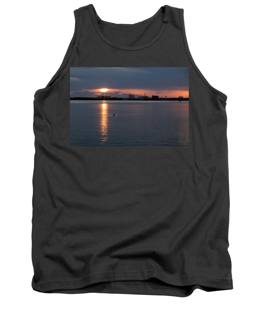 Dolphin Tank Top featuring the photograph Dolphin At Dark by Allan Hughes
