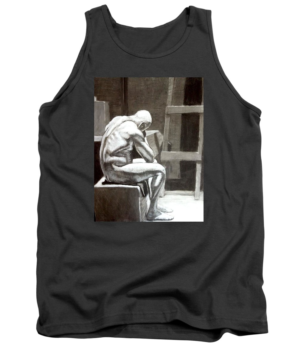 Sad Tank Top featuring the drawing Don't Get Down On Yourself by Nils Bifano