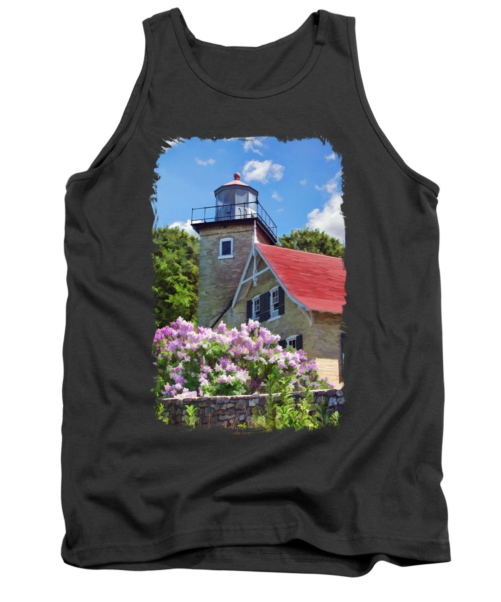Door County Tank Top featuring the painting Door County Eagle Bluff Lighthouse Lilacs by Christopher Arndt