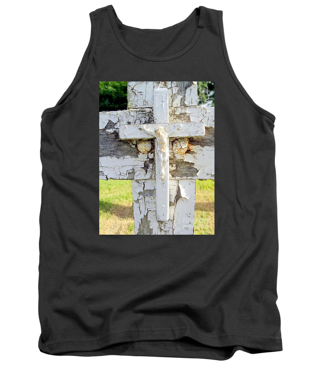 Cross Tank Top featuring the photograph Double Crossed by Ed Weidman