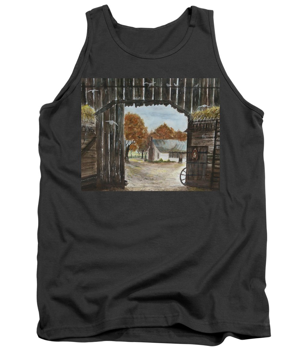 Grandpa And Grandma's Homeplace Tank Top featuring the painting Down Home by Ben Kiger